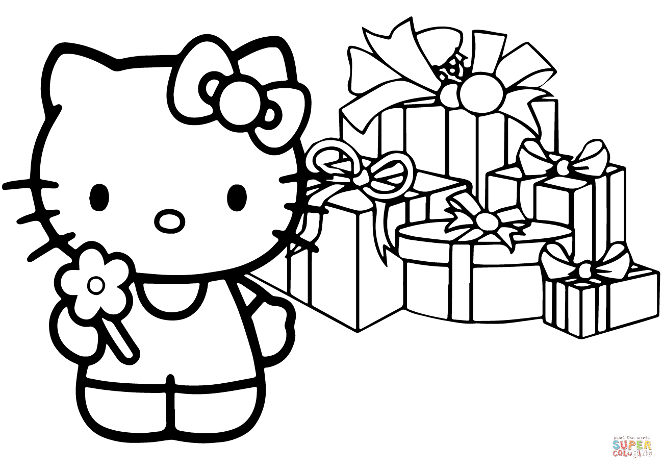 Hello Kitty Happy Christmas Coloring Page | Free Printable Coloring - Free Printable Christmas Cartoon Coloring Pages
