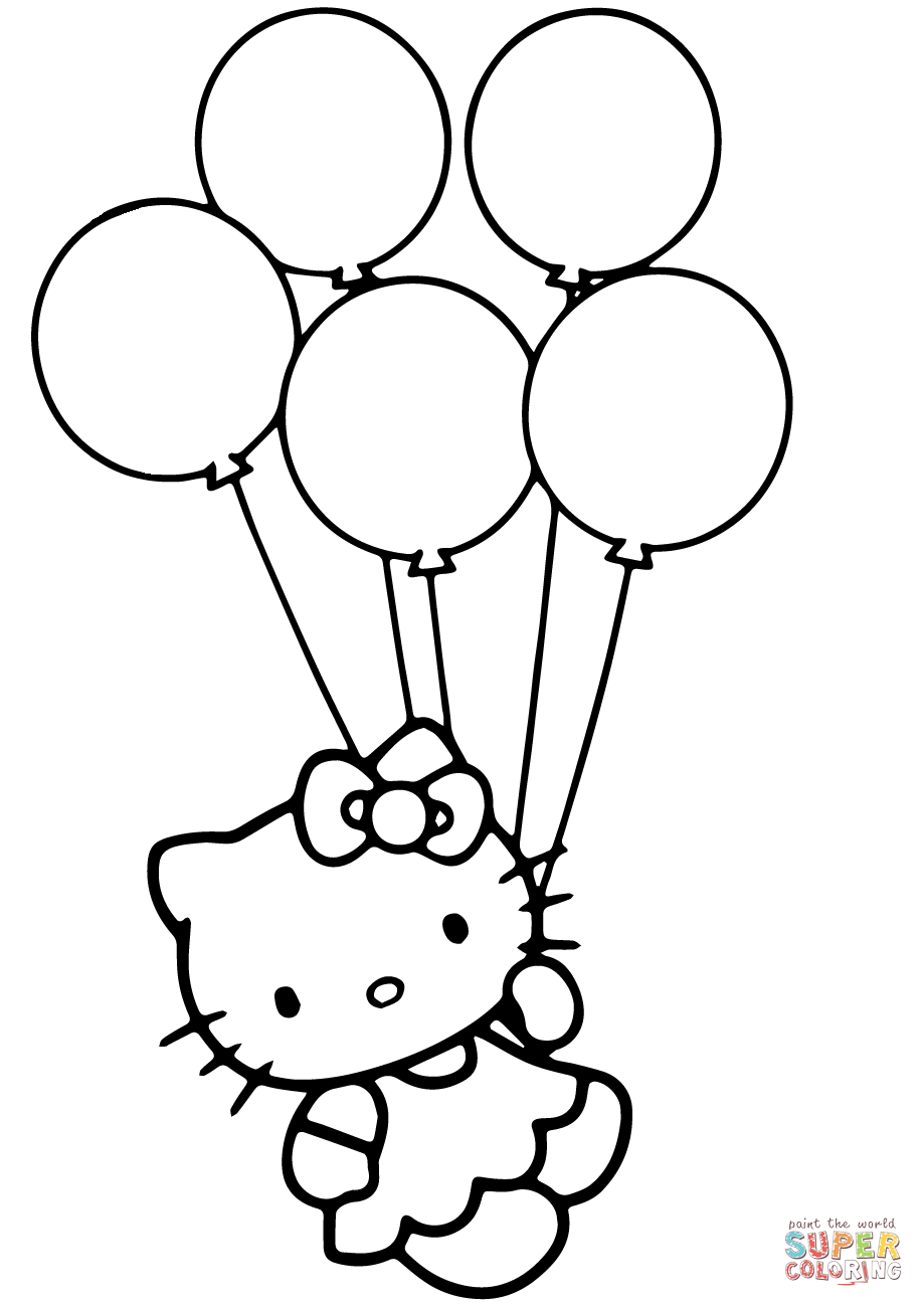 Hello Kitty With Balloons Coloring Page | Free Printable Coloring Pages - Free Printable Pictures Of Balloons