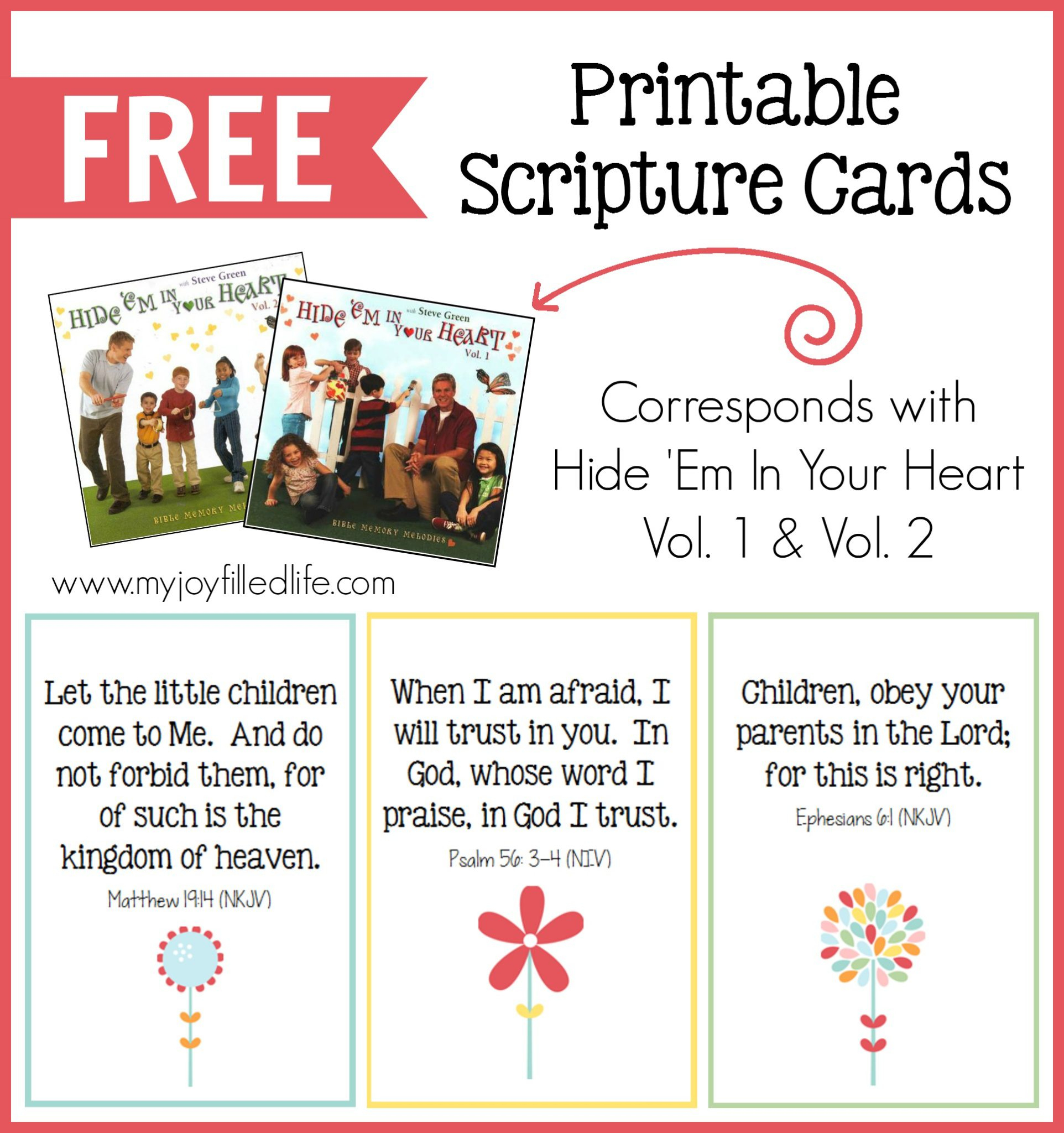 Hide 'em In Your Heart Scripture Cards {Free Printable} - My Joy - Free Printable Bible Verse Cards