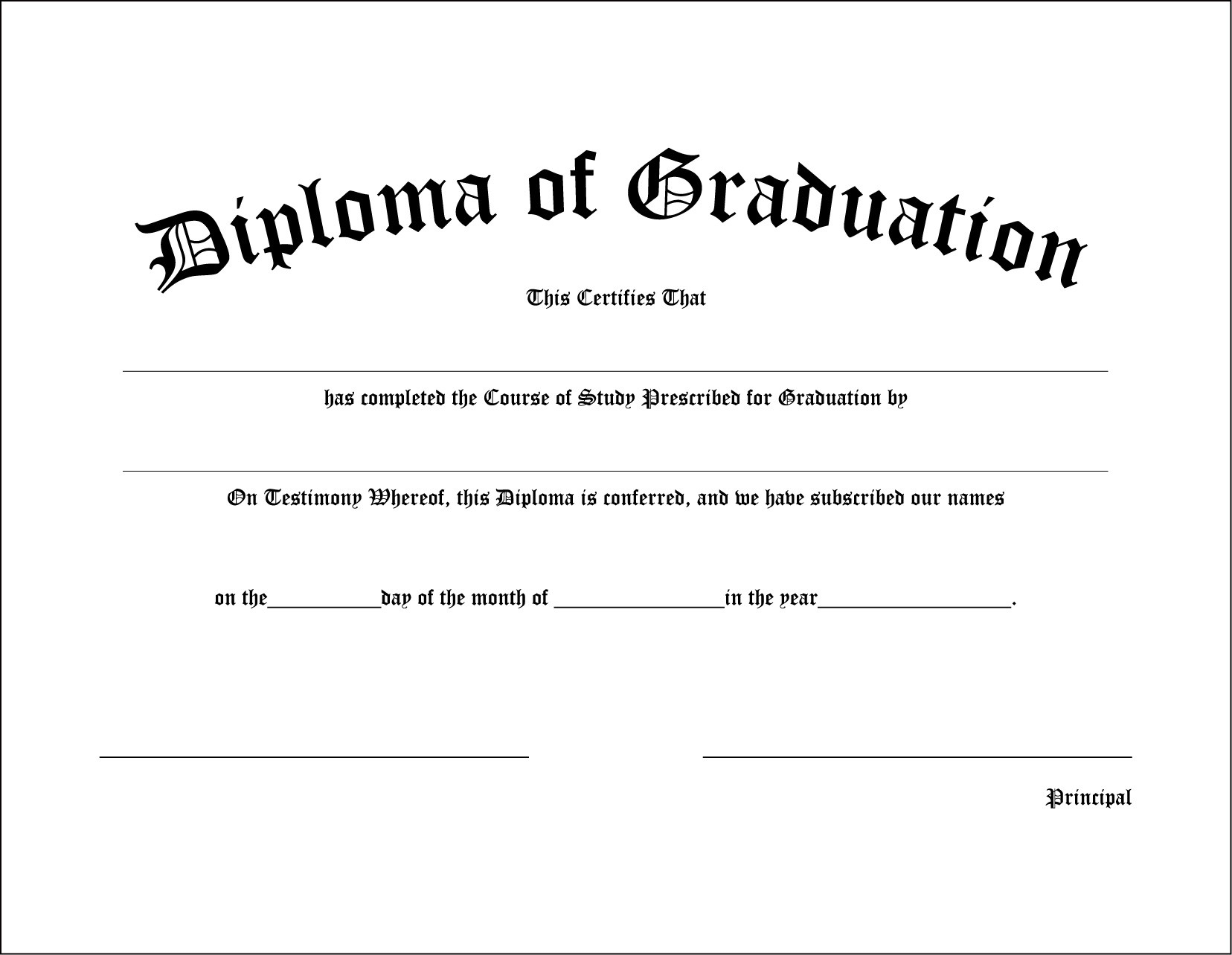 High School Diploma Template Free Printable Templates Graduation - Free Printable College Degrees