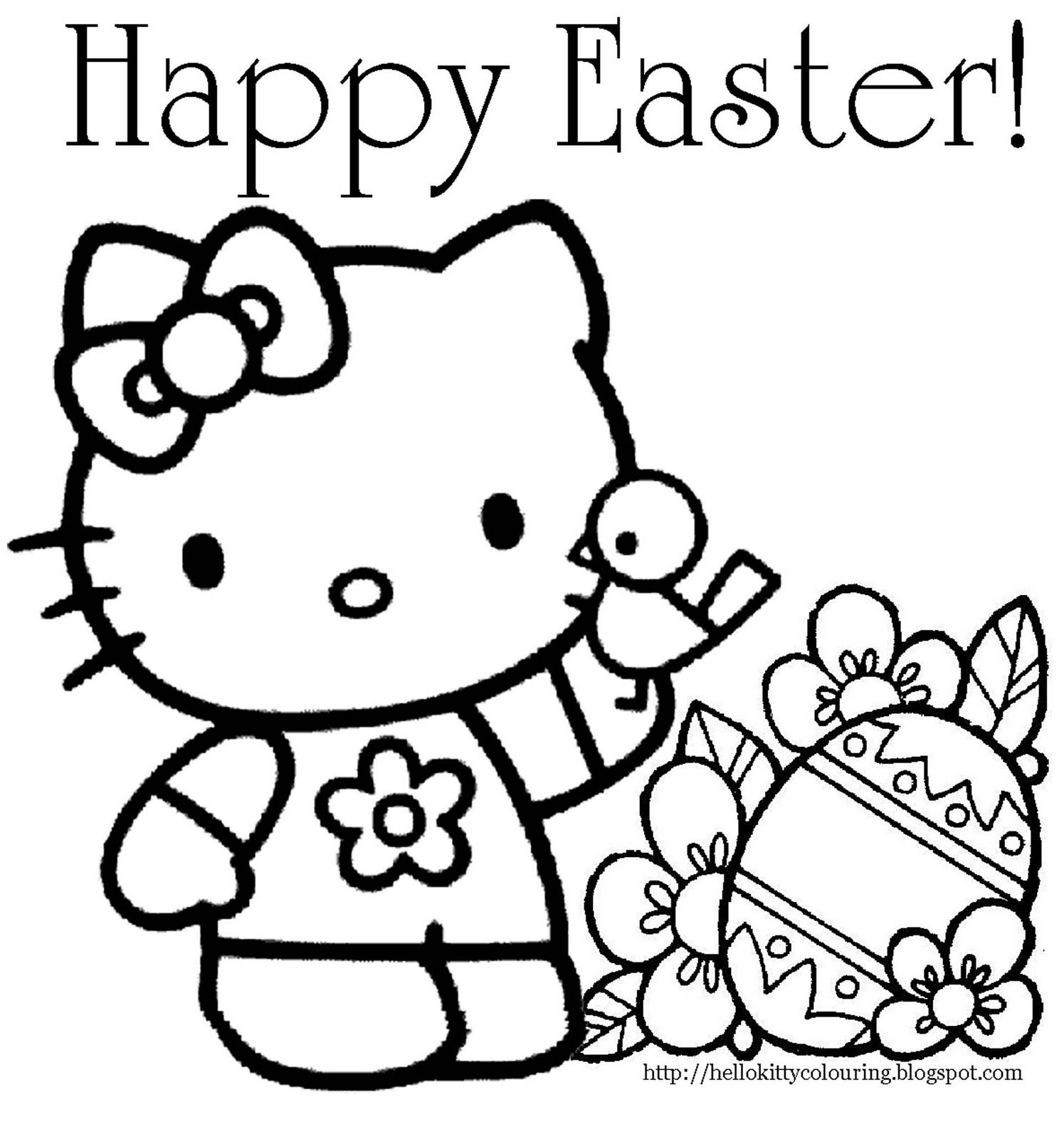 Hilla Kitte Coloriing   Hello Kitty Easter Coloring Page   Books - Free Easter Color Pages Printable