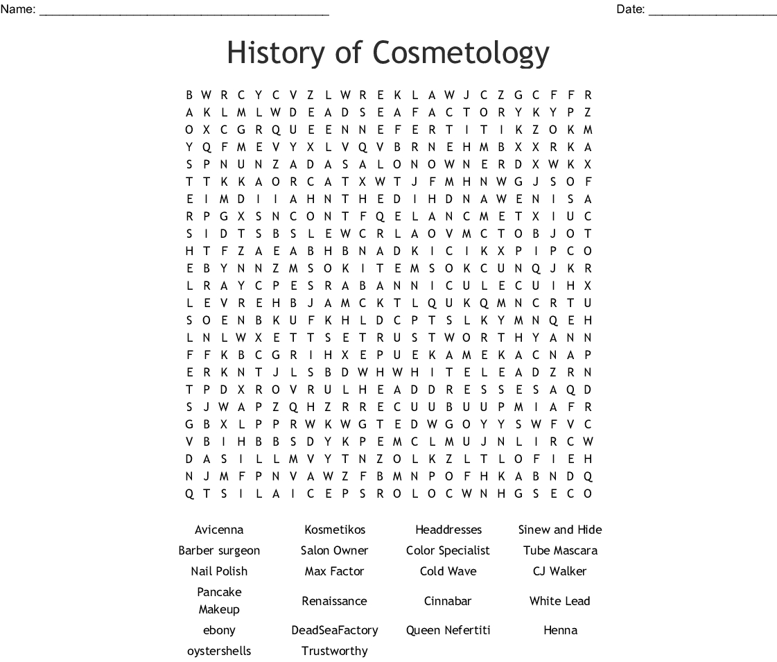 History Of Cosmetology Word Search - Wordmint - Free Printable Black History Month Word Search