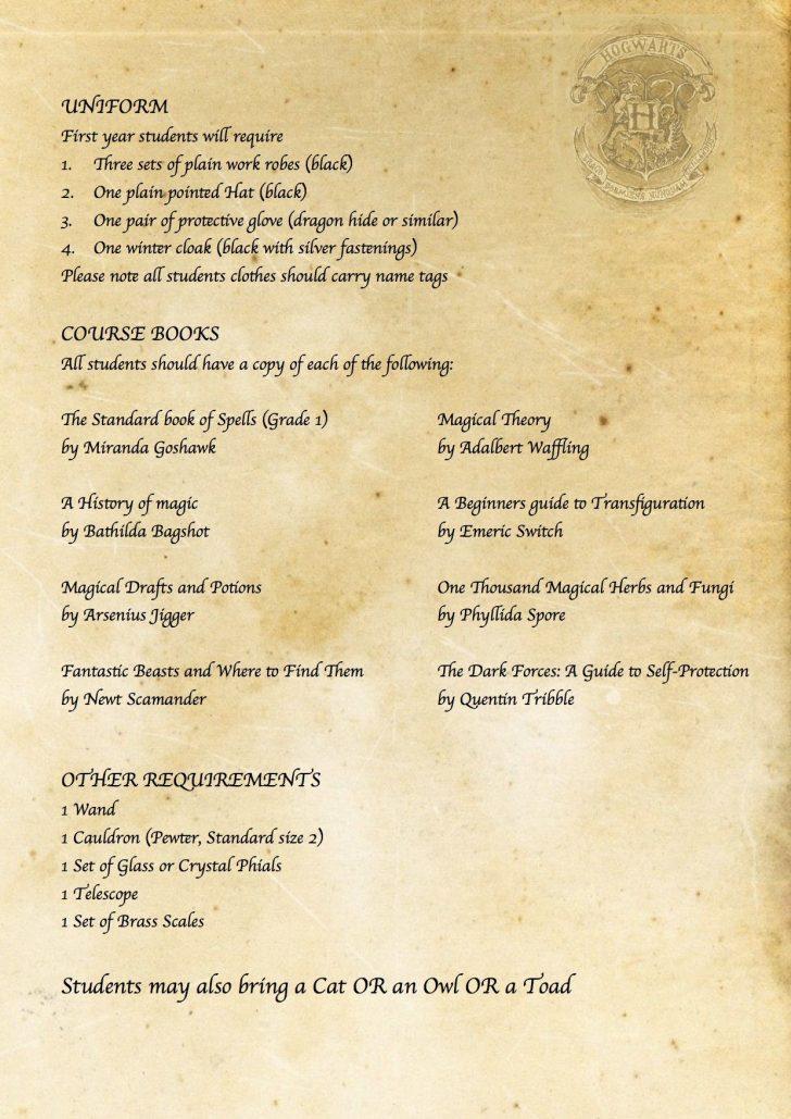 Hogwarts Acceptance Letter Template Free Printable