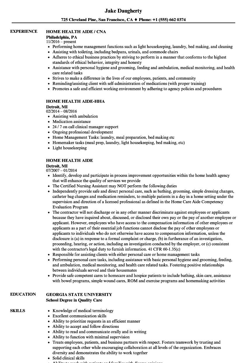 Home Health Aide Resume Samples   Velvet Jobs - Free Printable Inservices For Home Health Aides