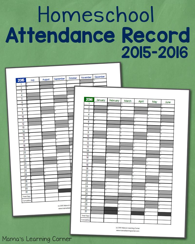 Homeschool Attendance Record 2015-2016: Free Printable - Mamas - Free Printable Attendance Sheets For Homeschool