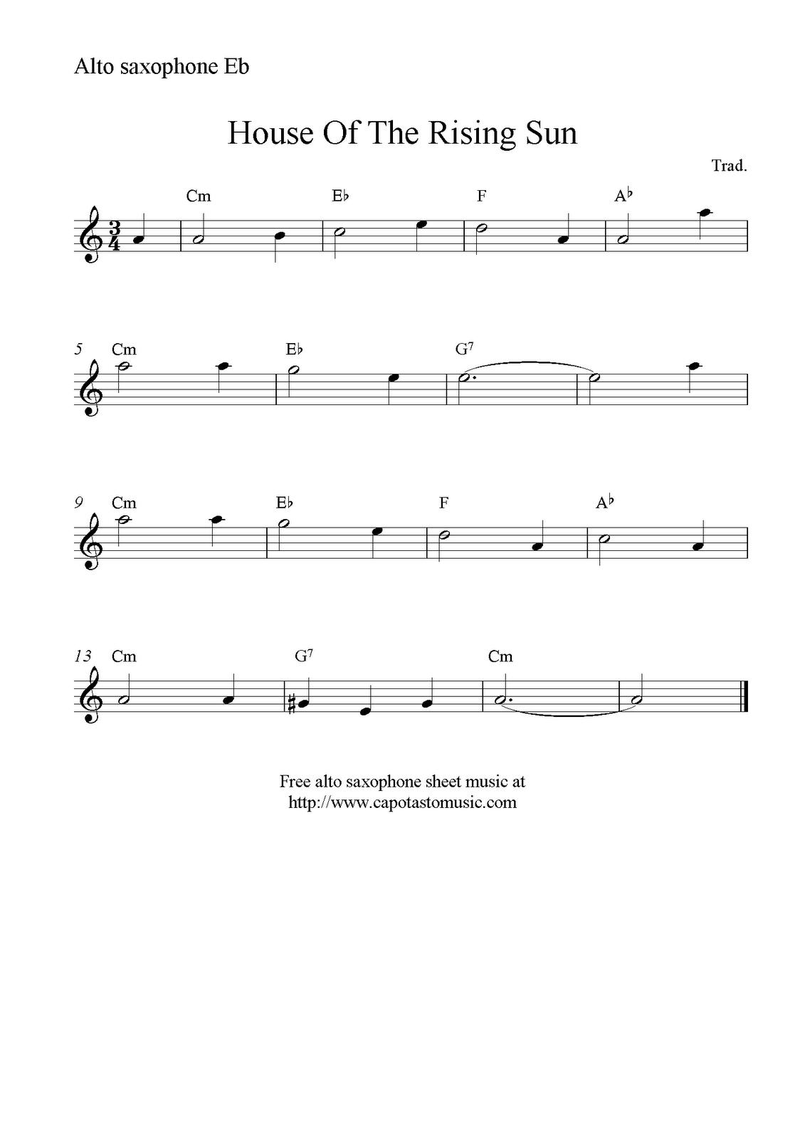 House Of The Rising Sun, Free Alto Saxophone Sheet Music Notes - Free Printable Alto Saxophone Sheet Music