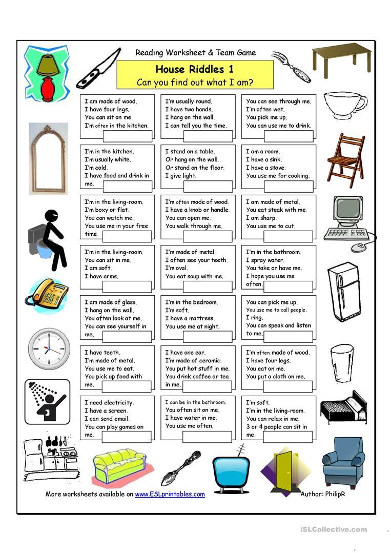 House Riddles (1) - Easy Worksheet - Free Esl Printable Worksheets - Free Printable Riddles With Answers