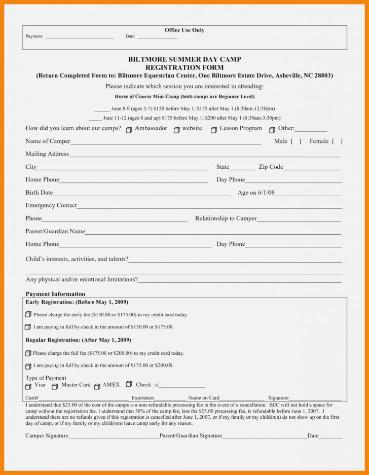 Free Printable Summer Camp Registration Forms