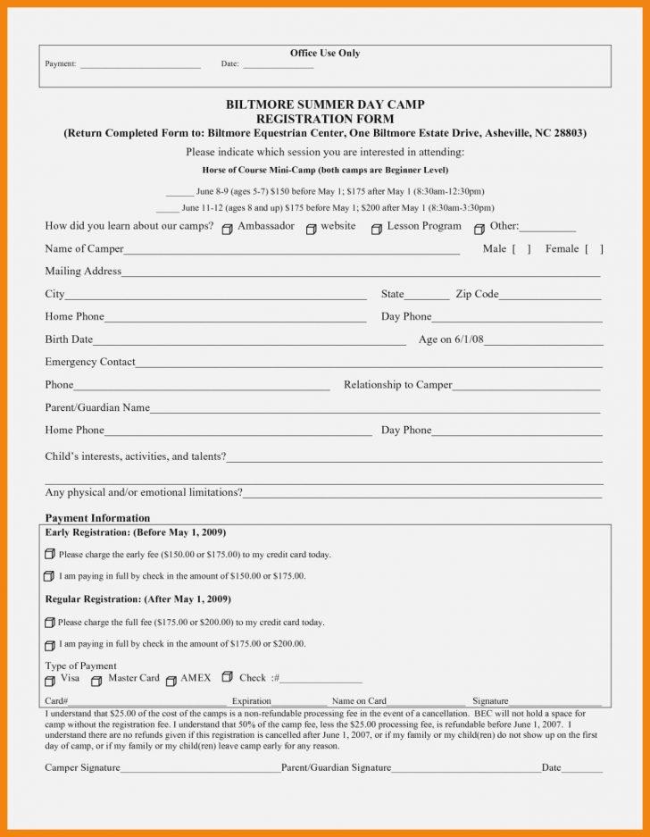 Free Printable Summer Camp Registration Forms