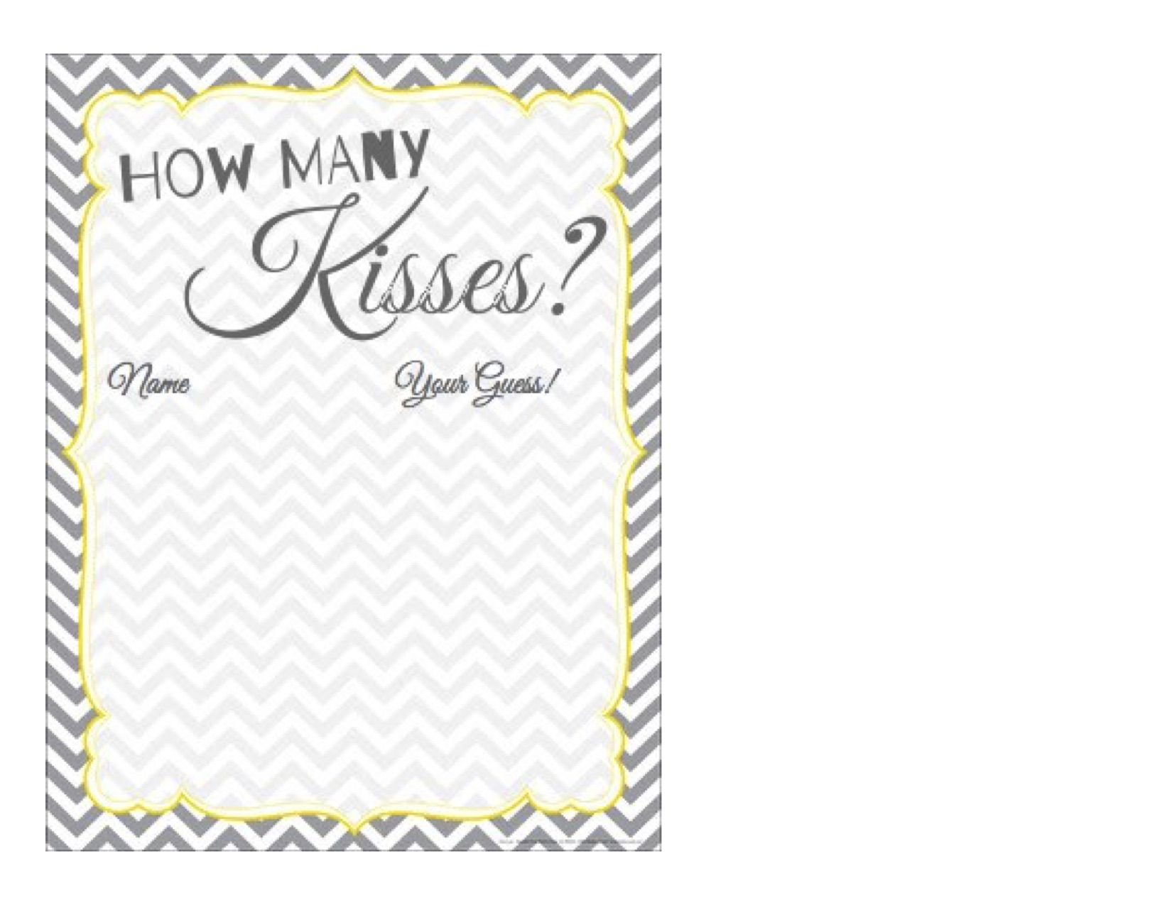 How Many Kisses? Free Printable Guessing Paper - Grey And Yellow - How Many Kisses Game Free Printable