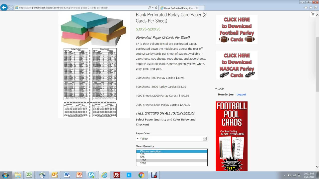 How To Buy Perforated Paper For Parlay Cards - Youtube - Free Printable Football Parlay Cards