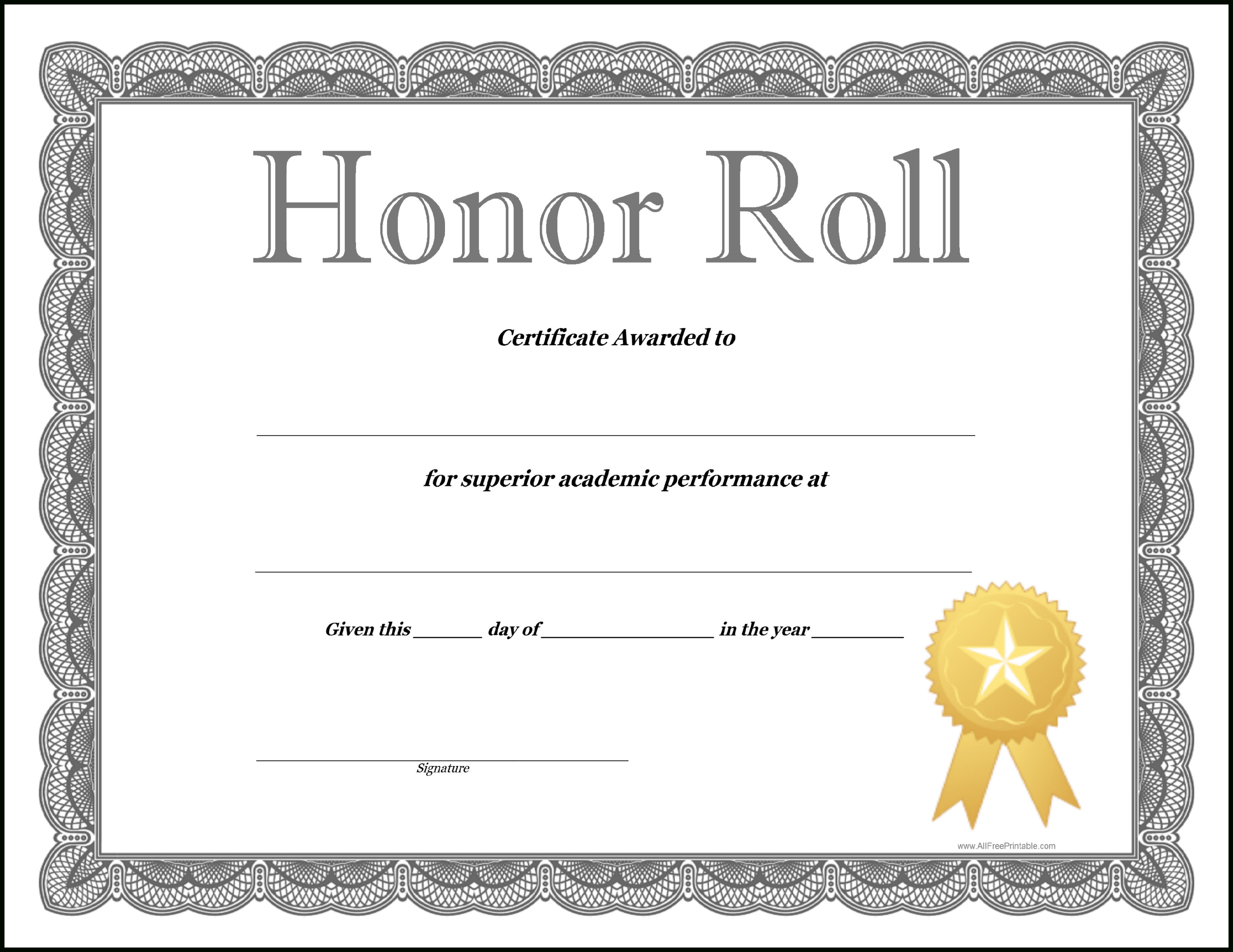 How To Craft A Professional-Looking Honor Roll Certificate Template - Free Printable Honor Roll Certificates Kids