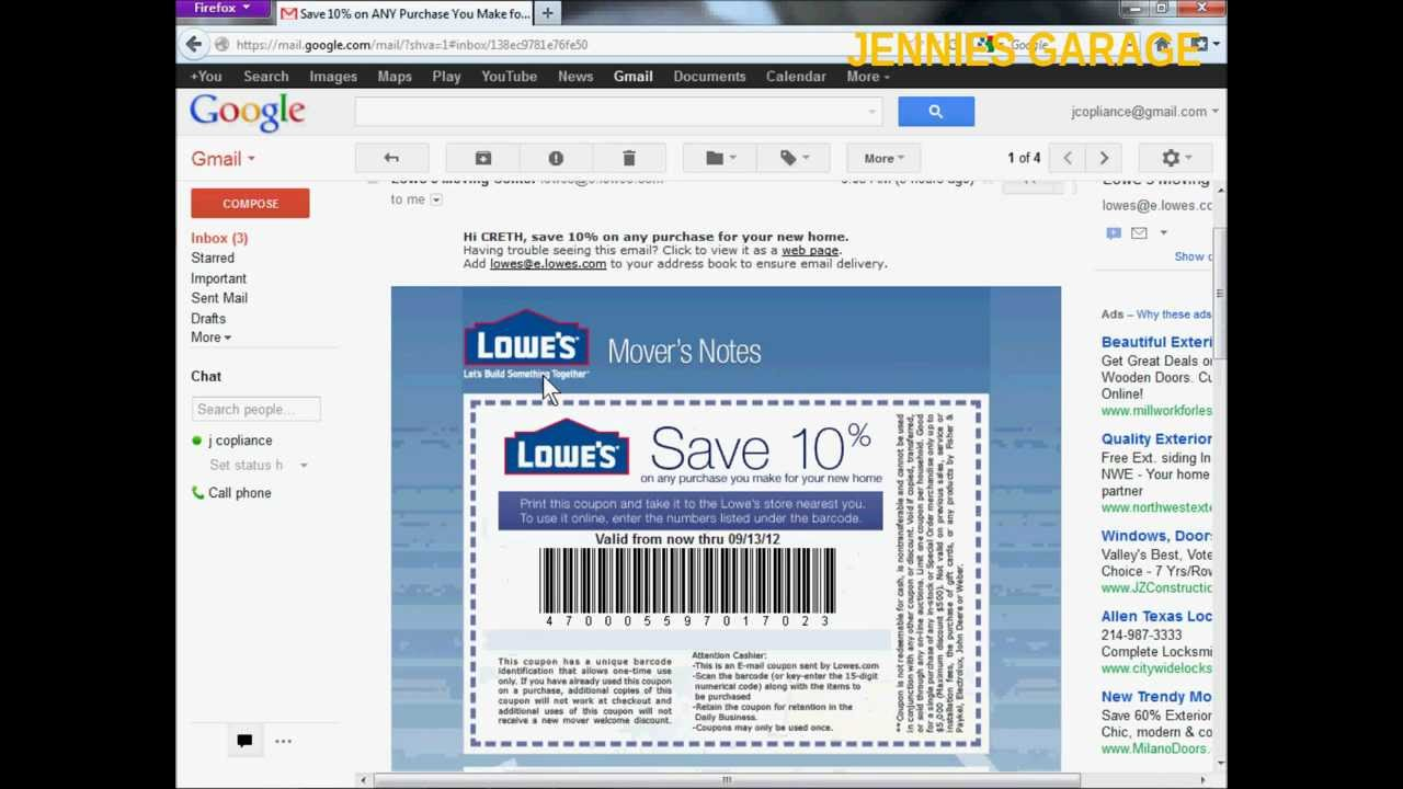 How To Get A Free Lowes 10% Off Coupon - Email Delivery - Youtube - Lowes Coupons 20 Free Printable