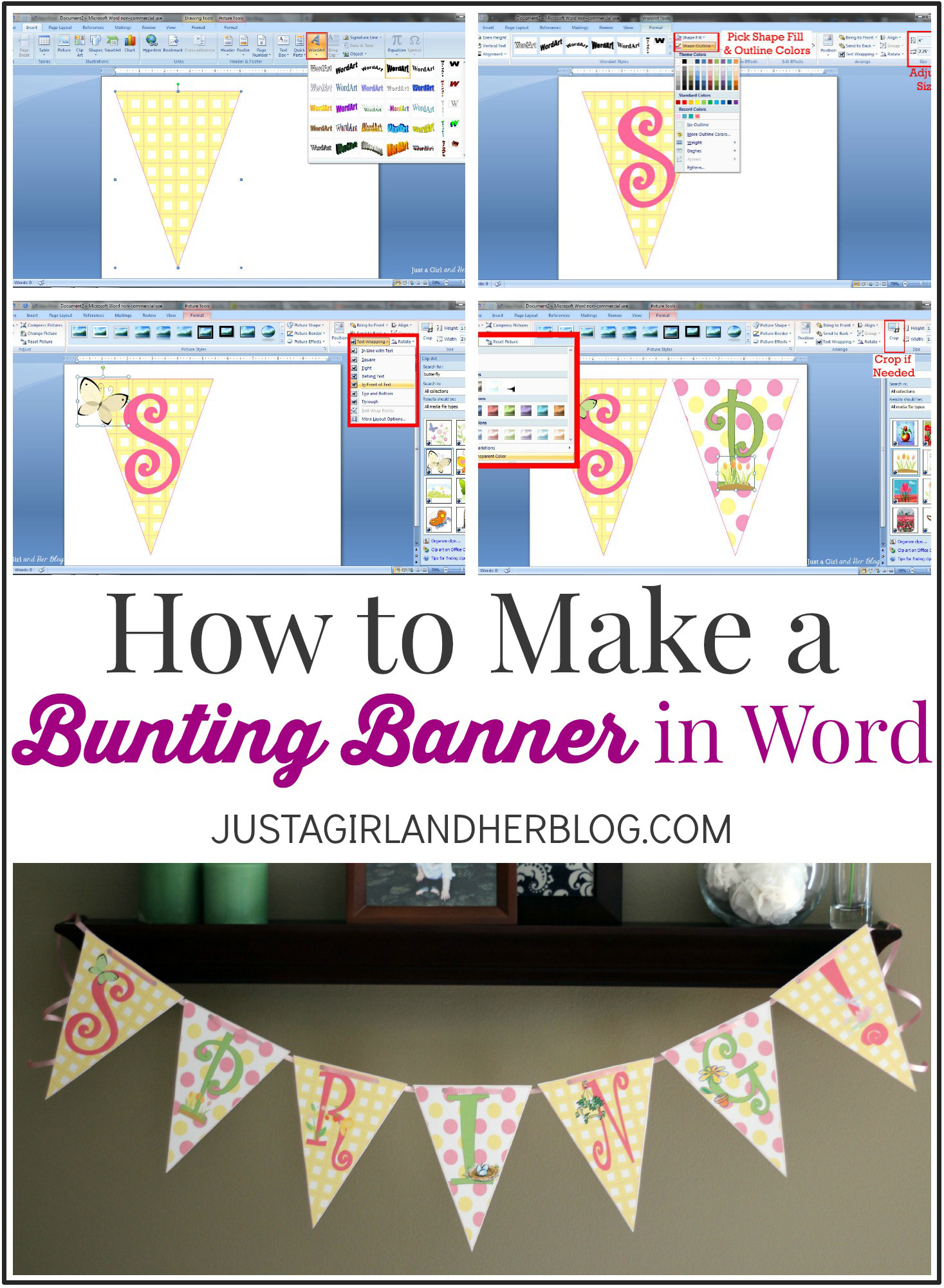 How To Make A Bunting Banner In Word {With Clip Art Tips And Tricks} - Free Printable Banner Maker