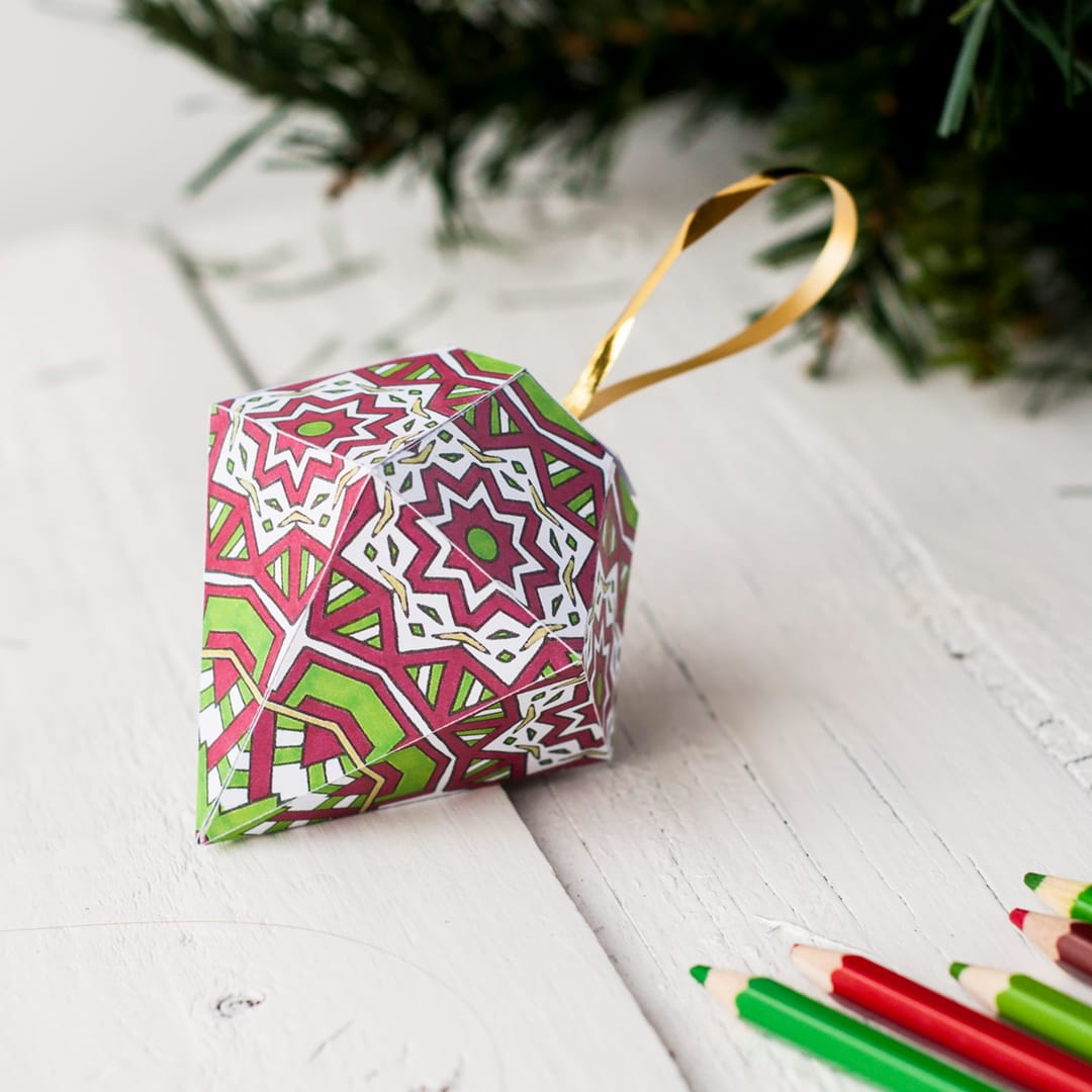 How To Make A Christmas Ornament (Free Printable Template) - Free Printable Christmas Decorations
