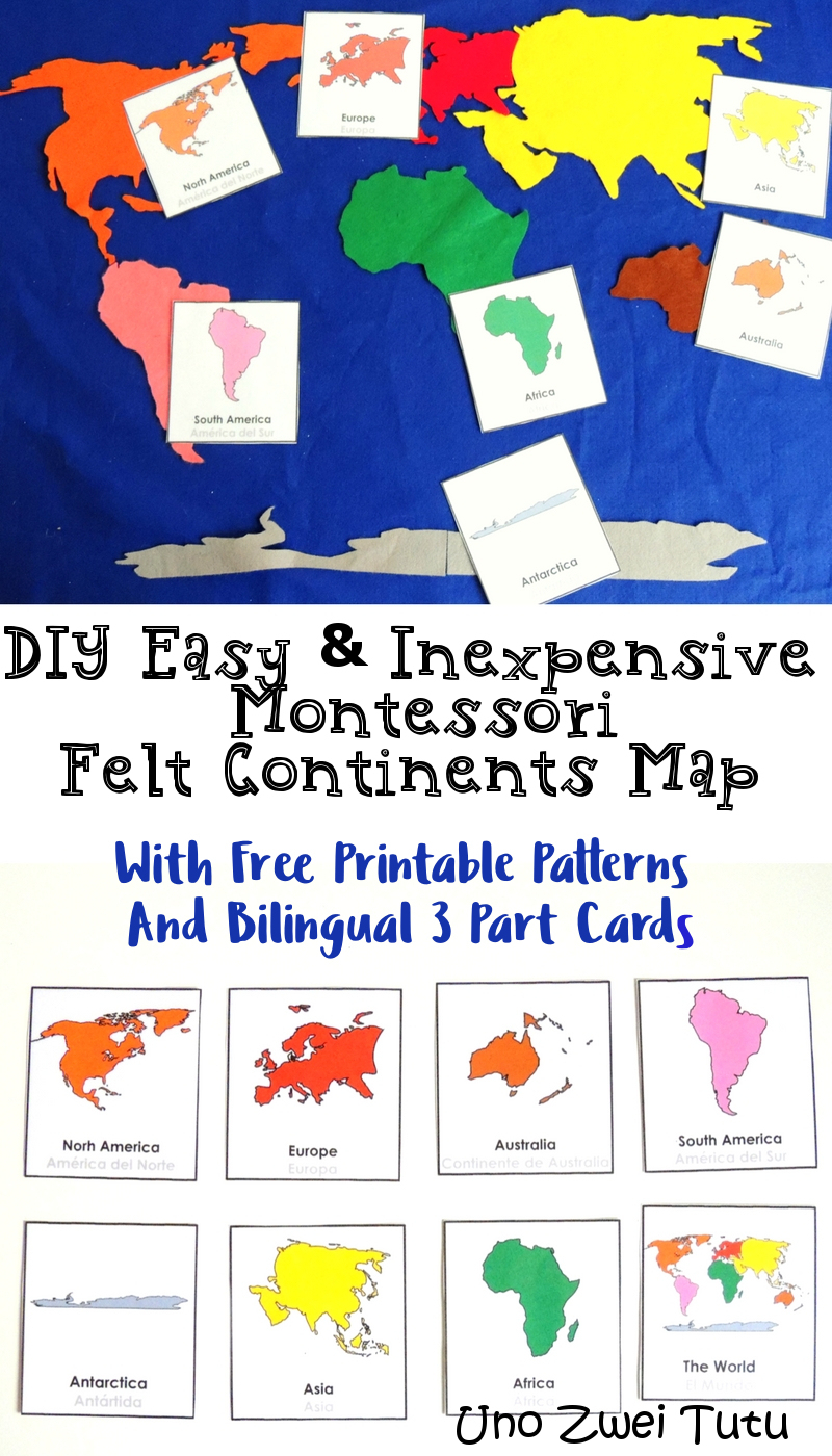 How To Make A Montessori Felt Continent Map With Free 3 Part Cards - Montessori World Map Free Printable