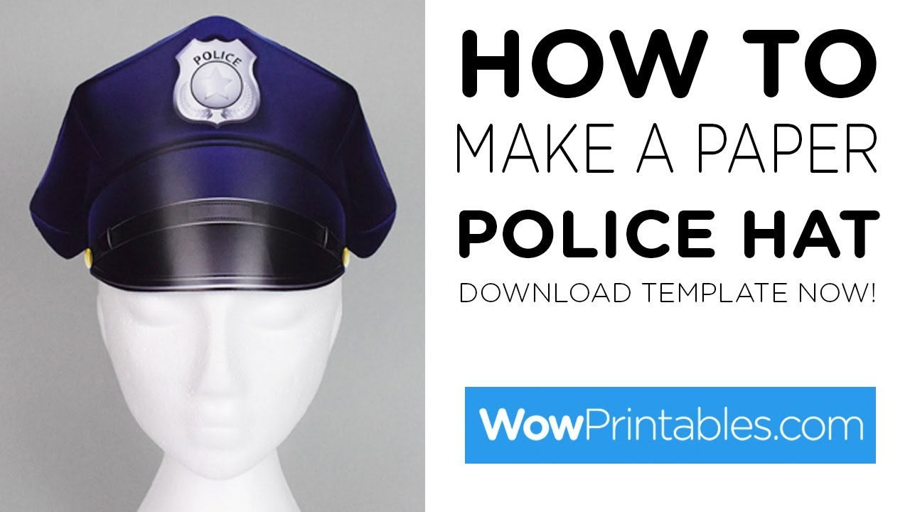 How To Make A Paper Police Hat ( Printable Template ) - Youtube - Free Printable Police Hat
