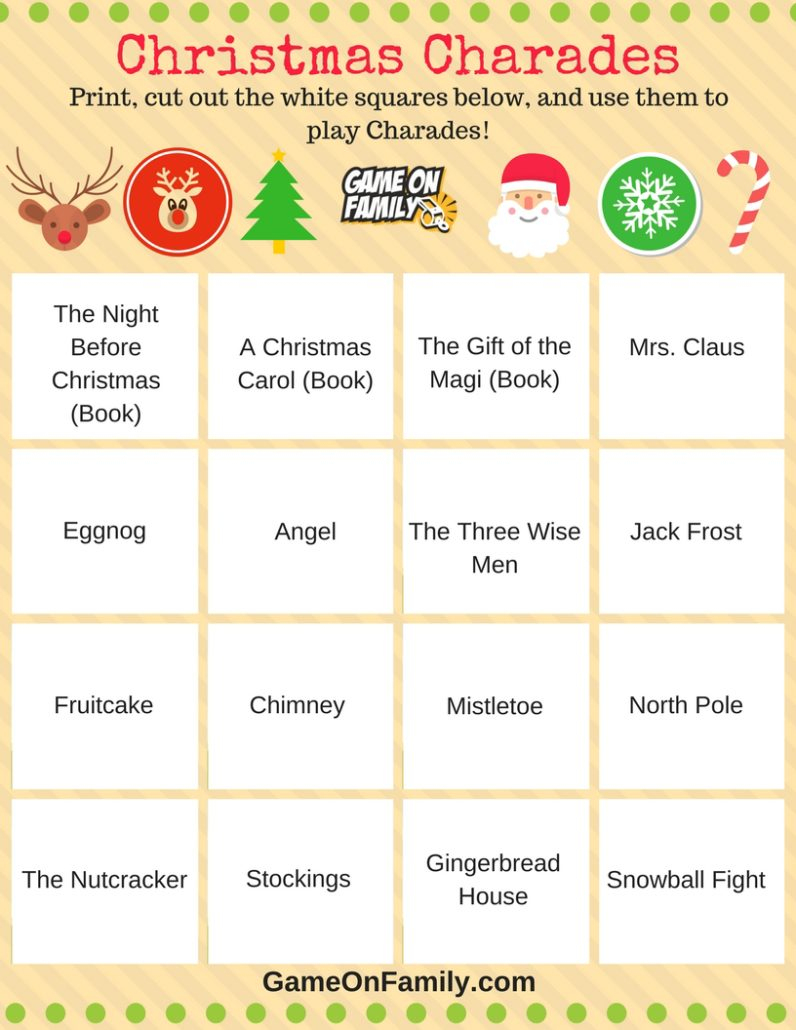 How To Play Christmas Charades: Free Printable Games! | Game On Family - Free Printable Charades Cards