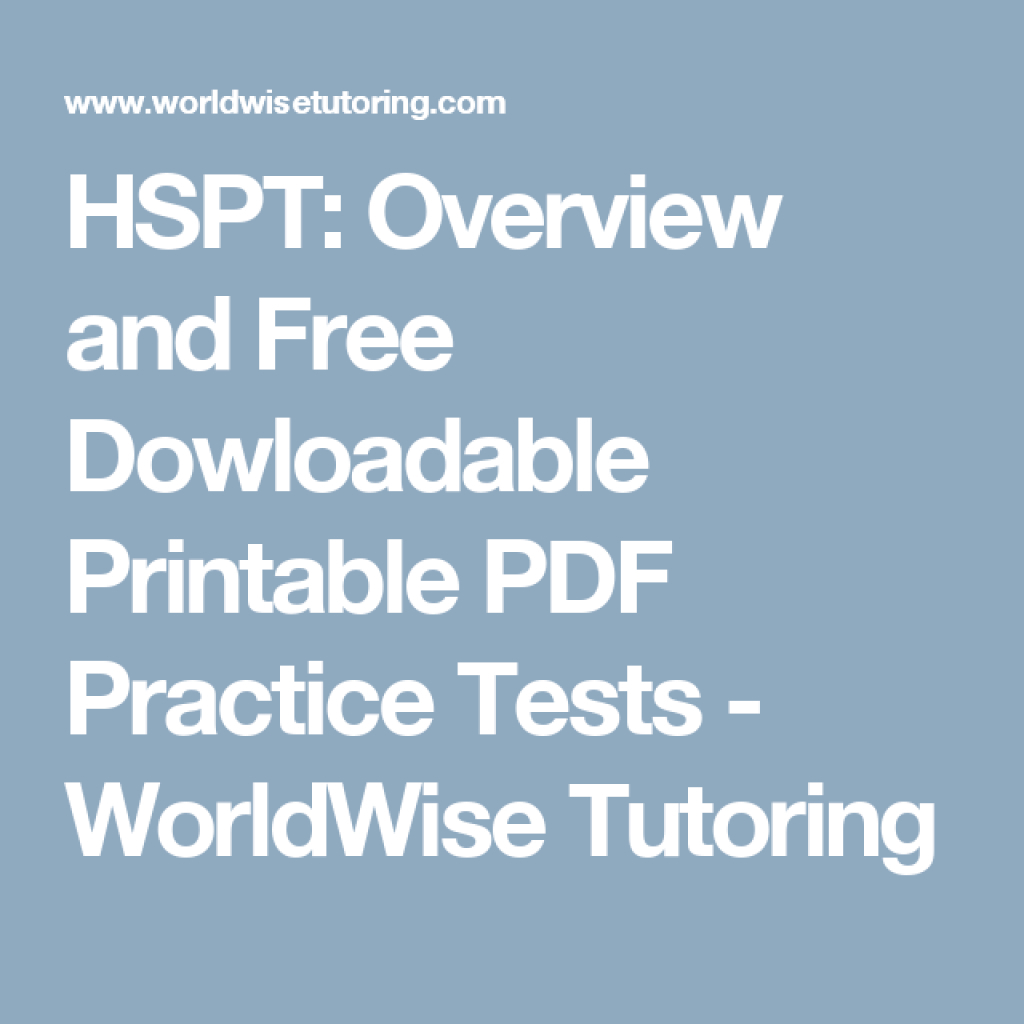 Hspt: Overview And Free Dowloadable Printable Pdf Practice Tests - Free Printable Hspt Practice Test