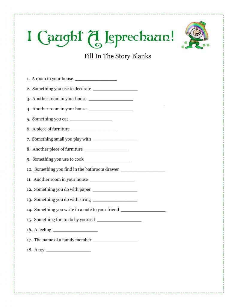 I Caught A Leprechaun! Free Fill-In-Blank Printable Story - Free Printable Short Stories For High School Students