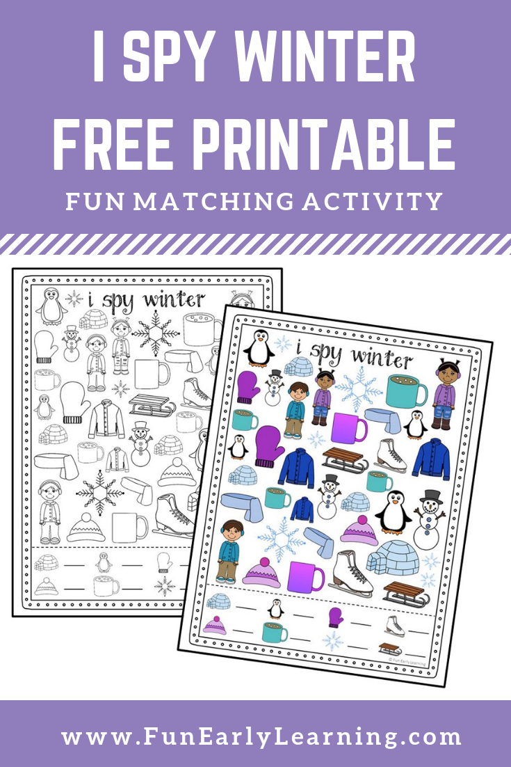 I Spy Winter Free Printable. Fun Matching And Counting Activity For - Free Printable Early Childhood Activities