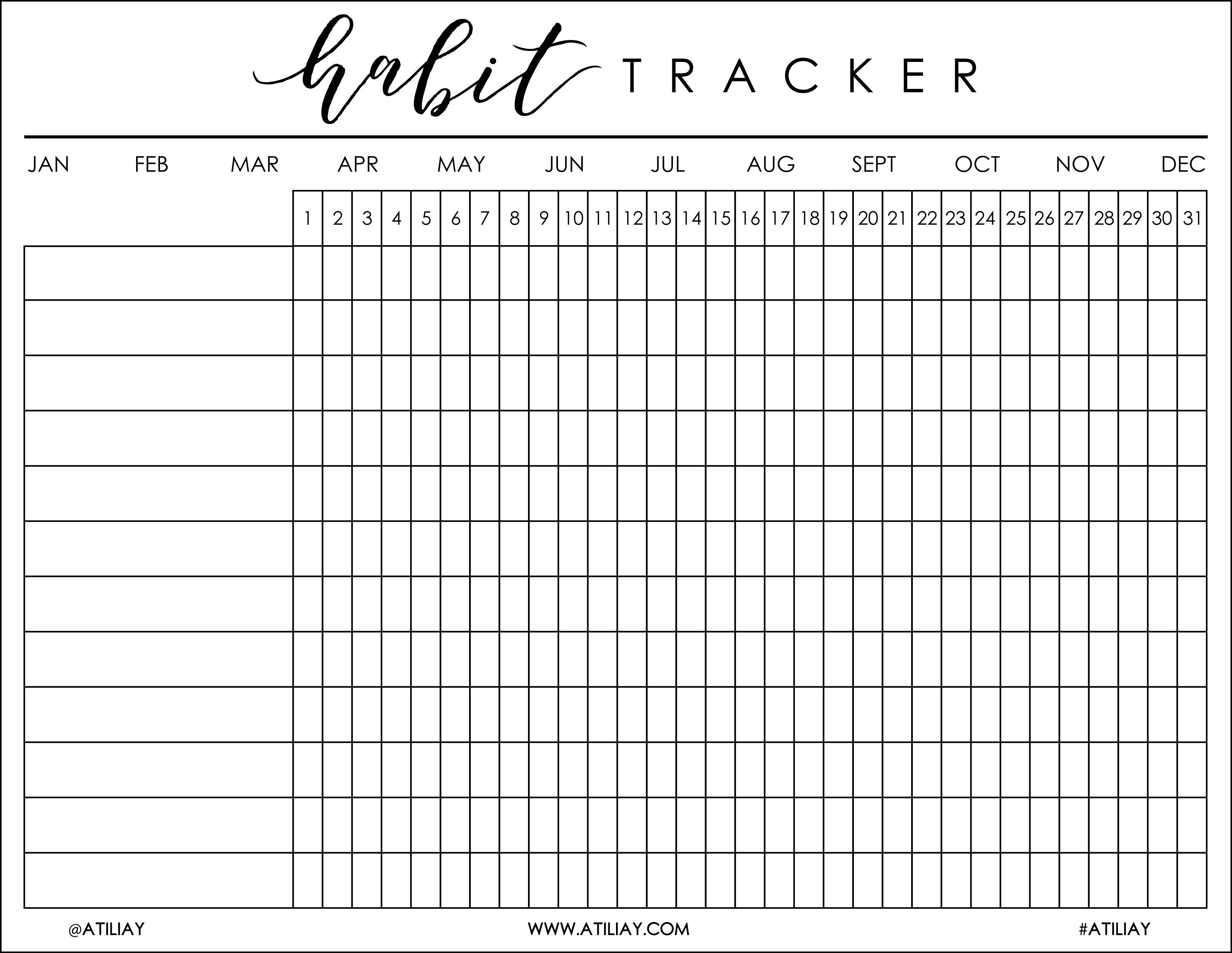 I Was Recently Helping My Boyfriend, Justin, Get His Bu …   Bujo - Habit Tracker Free Printable