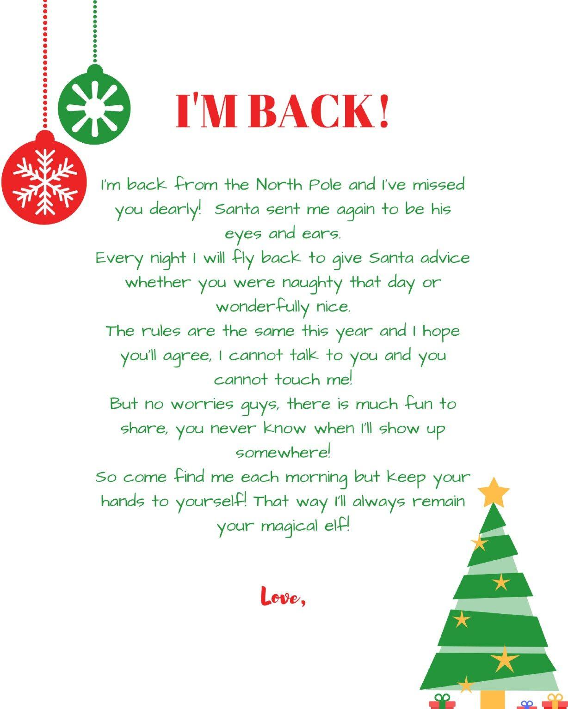 Im-Back-Elf-On-The-Shelf-Arrival-Letter-Free-Printable1 | Elf On The - Free Printable Elf On Shelf Arrival Letter