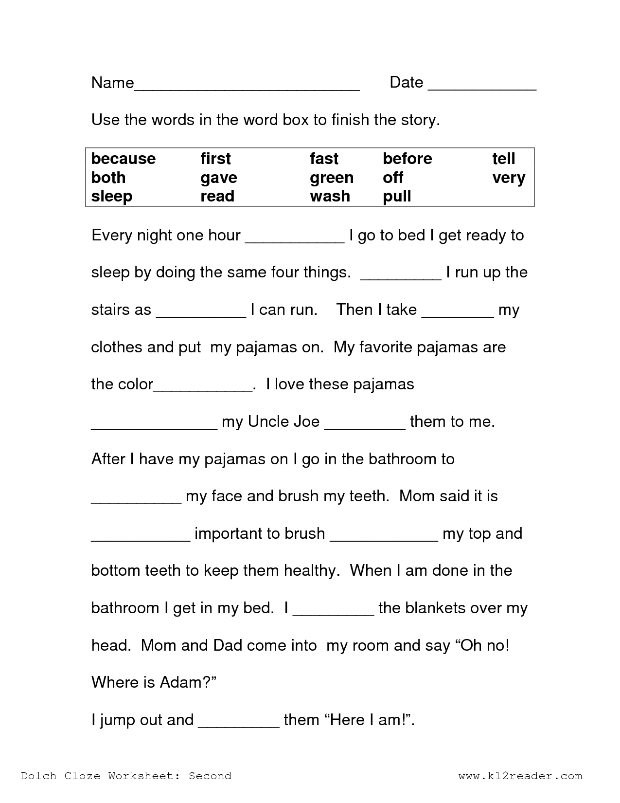 Image Result For Free Cloze Reading Passages 2Nd Grade | Printables - Free Printable Short Stories For 2Nd Graders