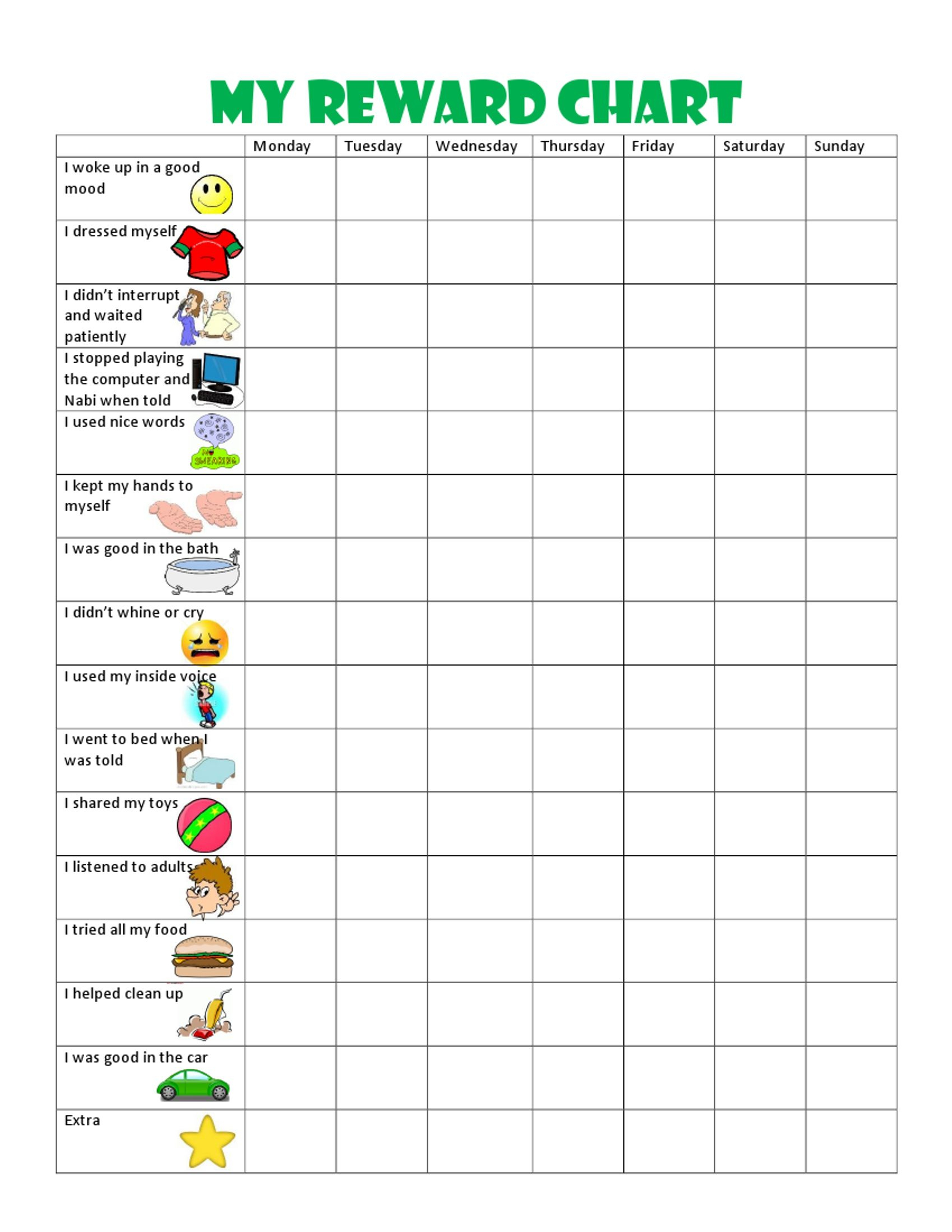 Image Result For Free Printable Behavior Charts For 6 Year Olds - Free Printable Behavior Charts