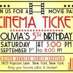 Impressive Movie Ticket Invitation Template ~ Ulyssesroom   Free Printable Movie Ticket Birthday Party Invitations