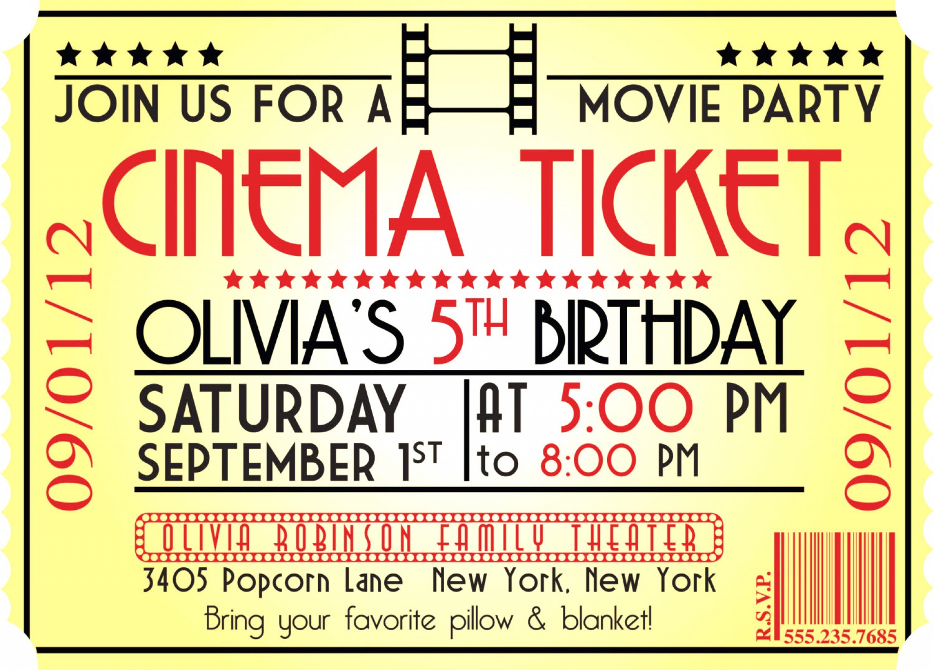 Impressive Movie Ticket Invitation Template ~ Ulyssesroom - Free Printable Movie Ticket Birthday Party Invitations