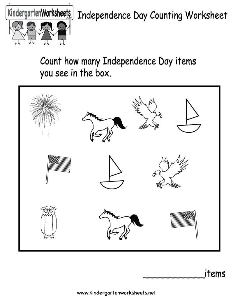 Independence Day Counting Worksheet - Free Kindergarten Holiday - Free Printable Presidents Day Worksheets