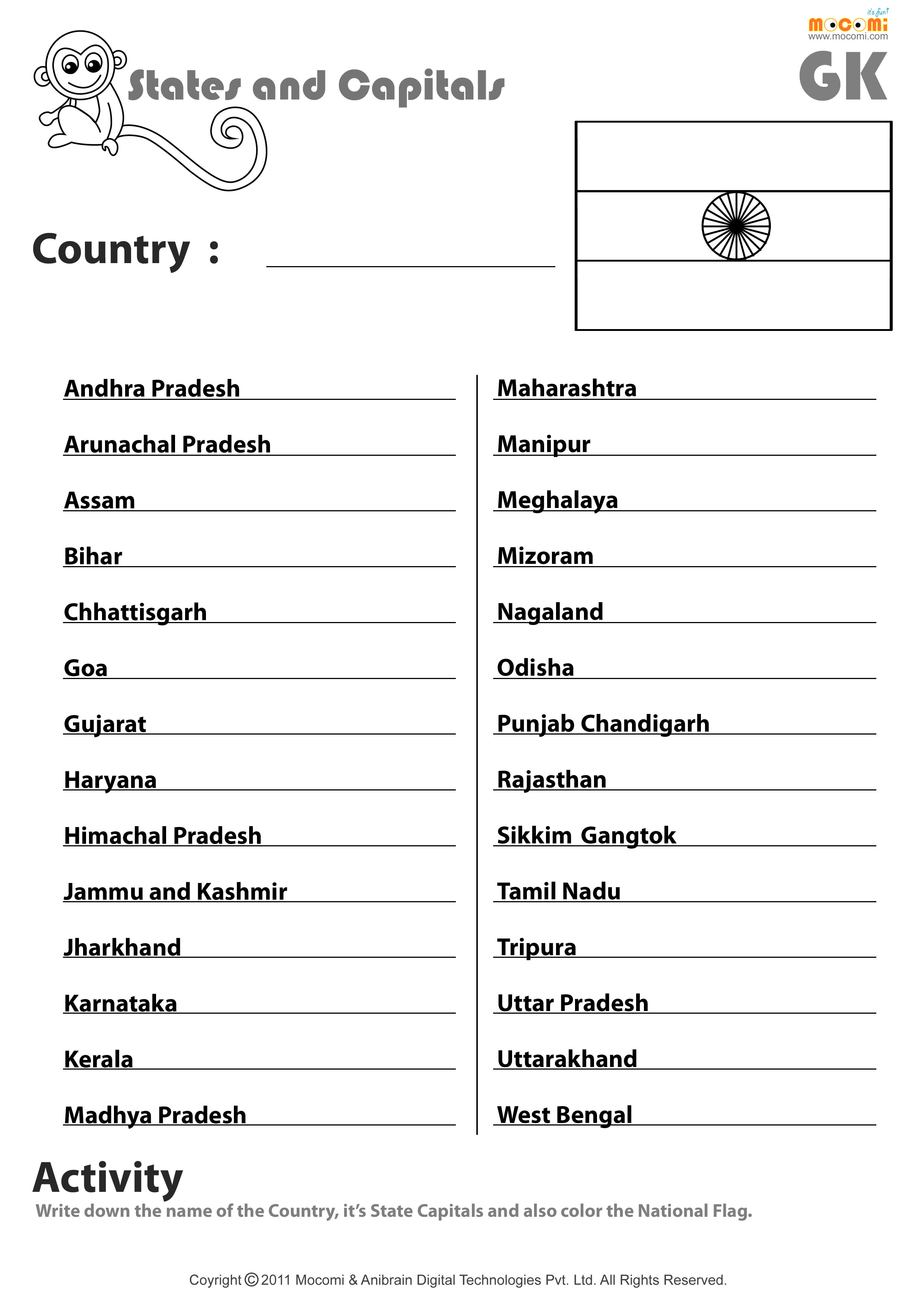 Indian States And Their Capitals - English Worksheets For Kids   Mocomi - Free Printable States And Capitals Worksheets