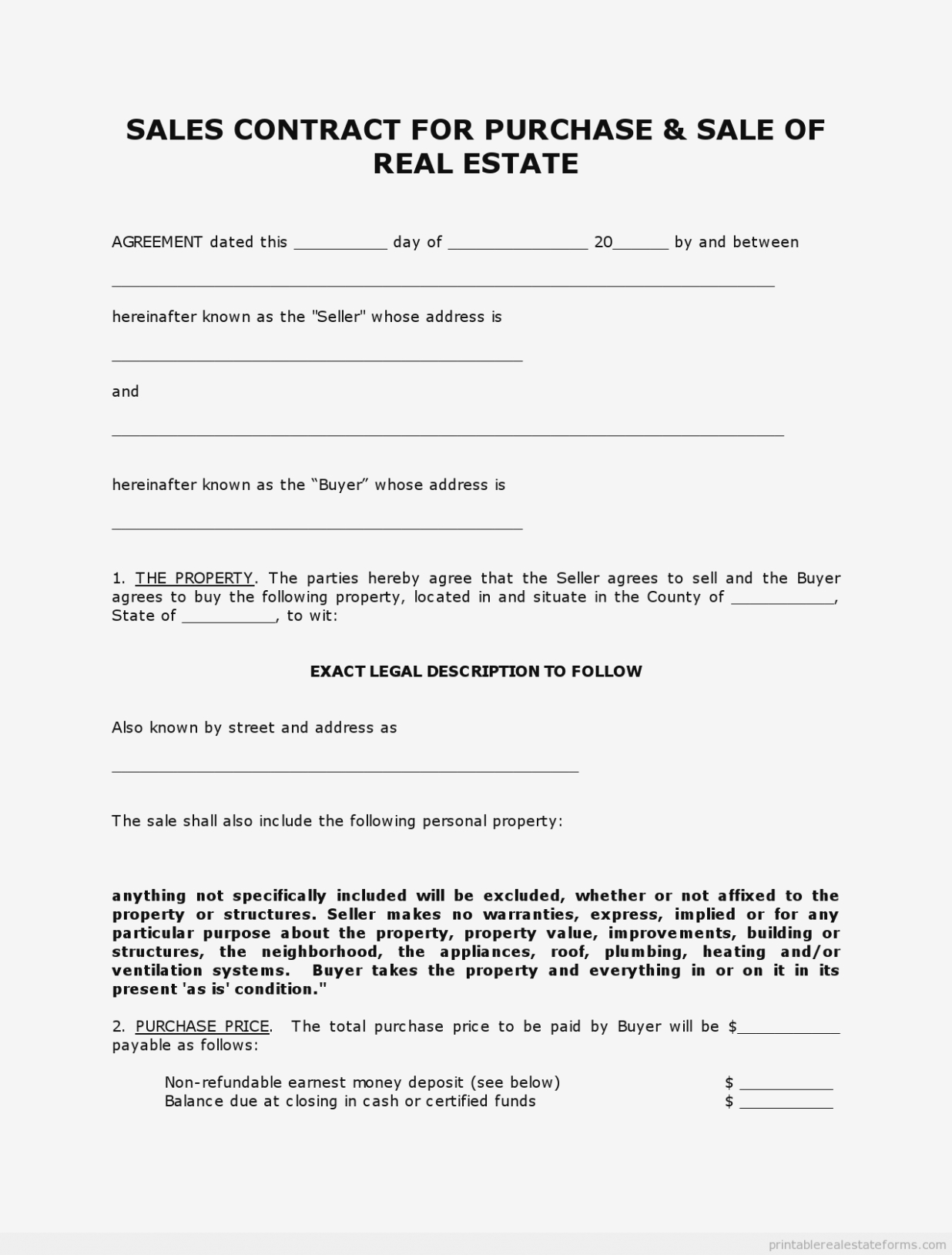 Indiana Real Estate Purchase Agreement 10 Simple Free Printable - Free Printable Real Estate Forms