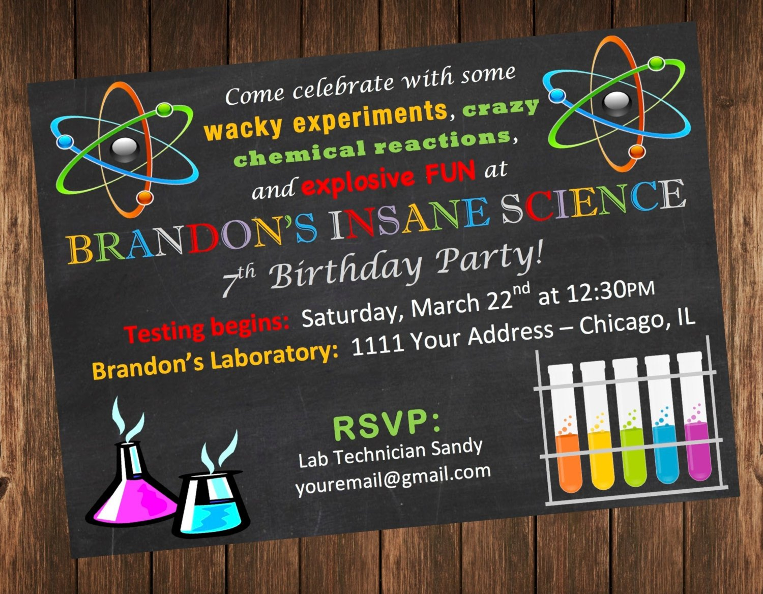 Insane Science Birthday Party Invitation / Science Laboratory Invite - Free Printable Science Birthday Party Invitations