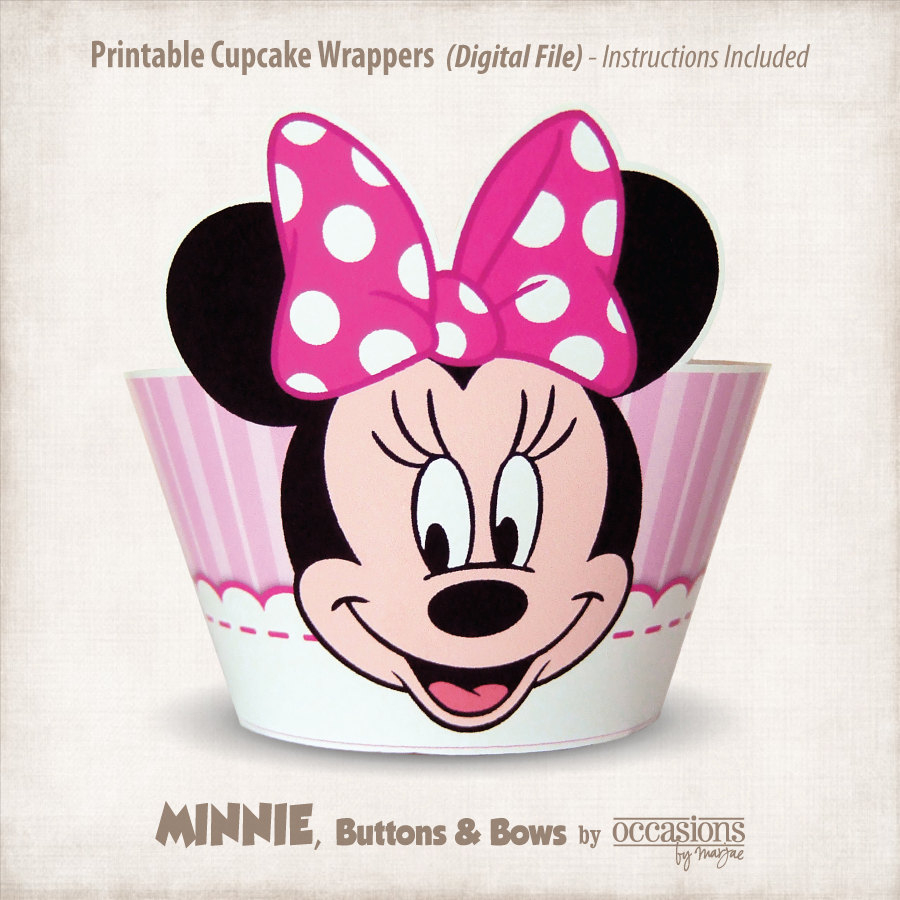 Instant Download Printable Minnie Mouse Cupcake Wrappers   Etsy - Free Printable Minnie Mouse Cupcake Wrappers
