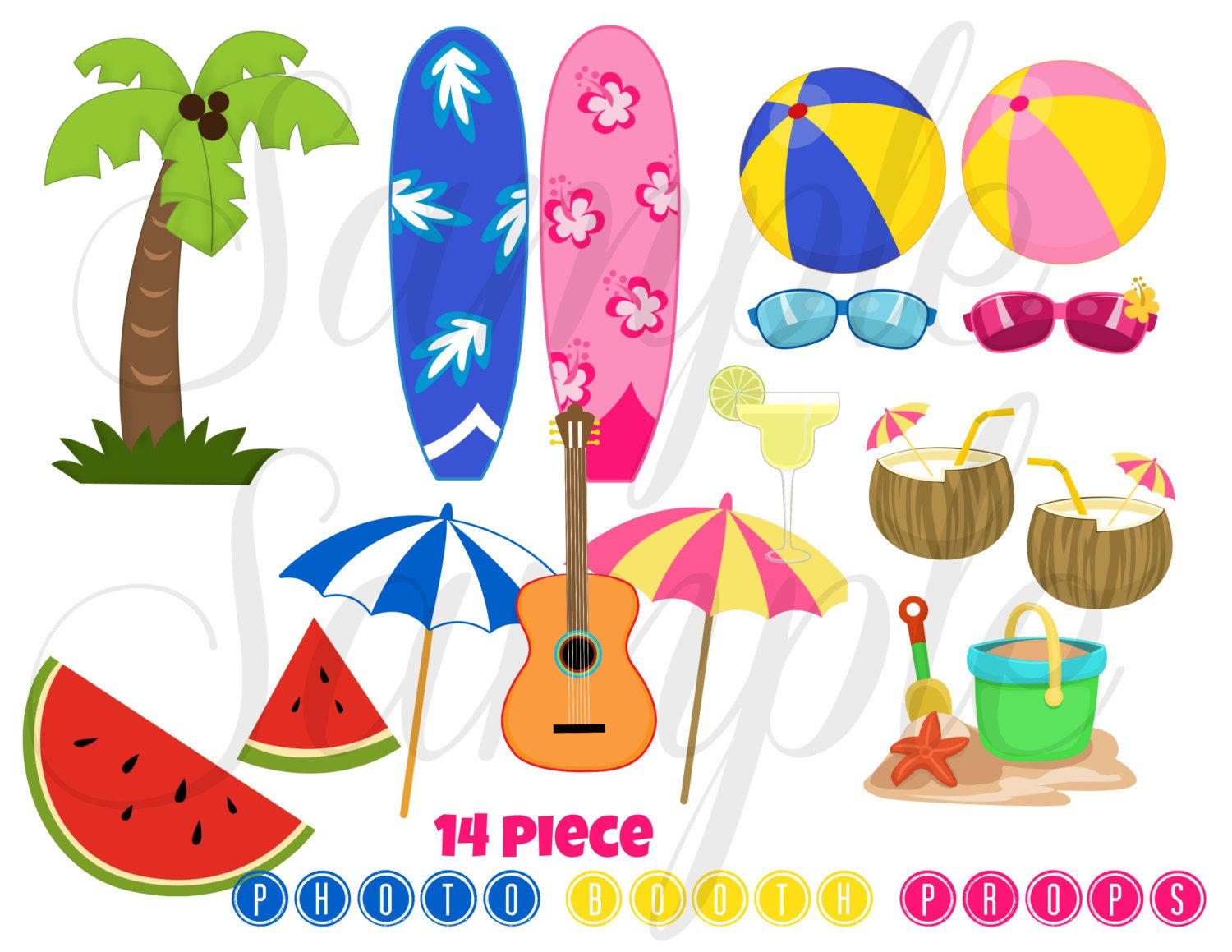 Instant Download Summer Beach Party 16 Piece Photo Booth Props - Hawaiian Photo Booth Props Printable Free