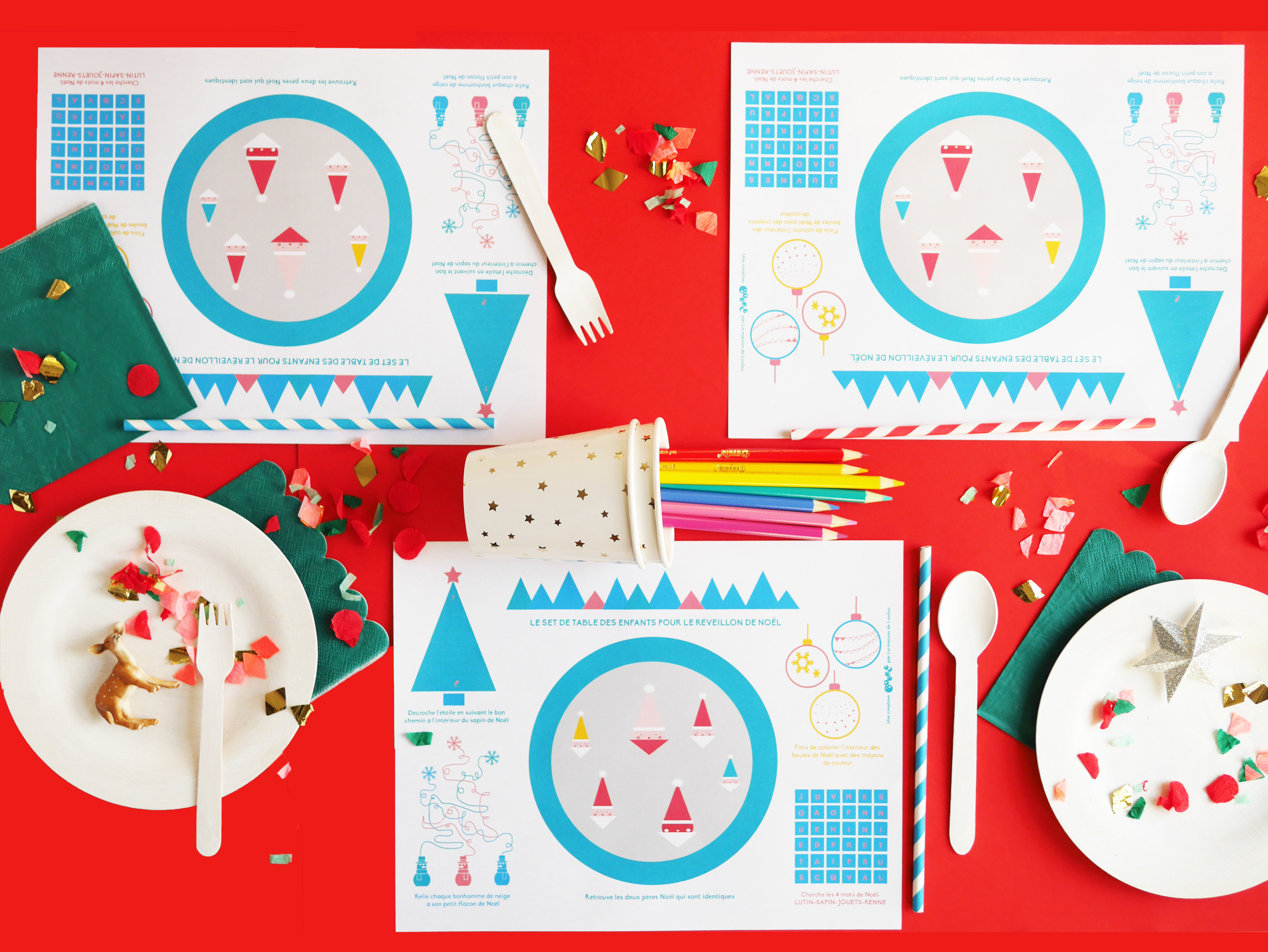 Interactive Free Printable Christmas Placematla Maison De Loulou | - Free Printable Christmas Placemats For Adults