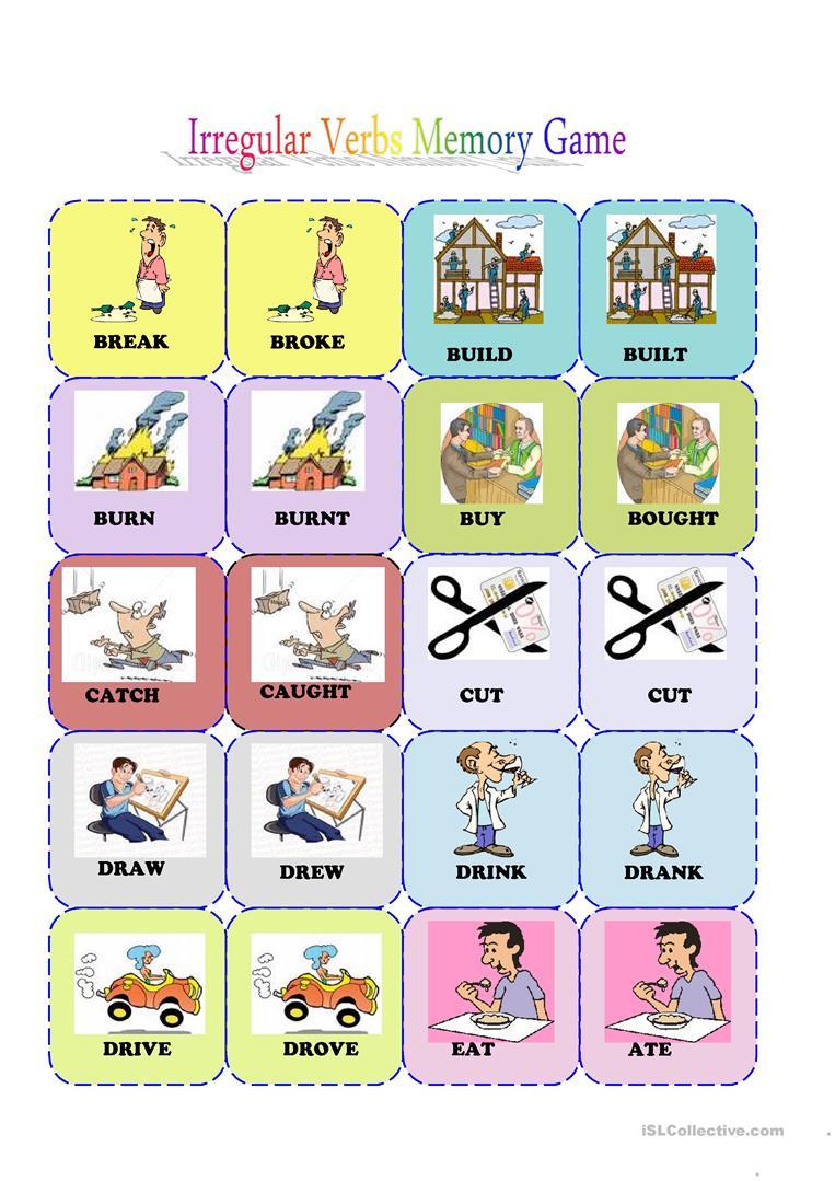 Irregular Verbs Memory Card Game( 1/3) Worksheet - Free Esl - Free Printable Memory Exercises