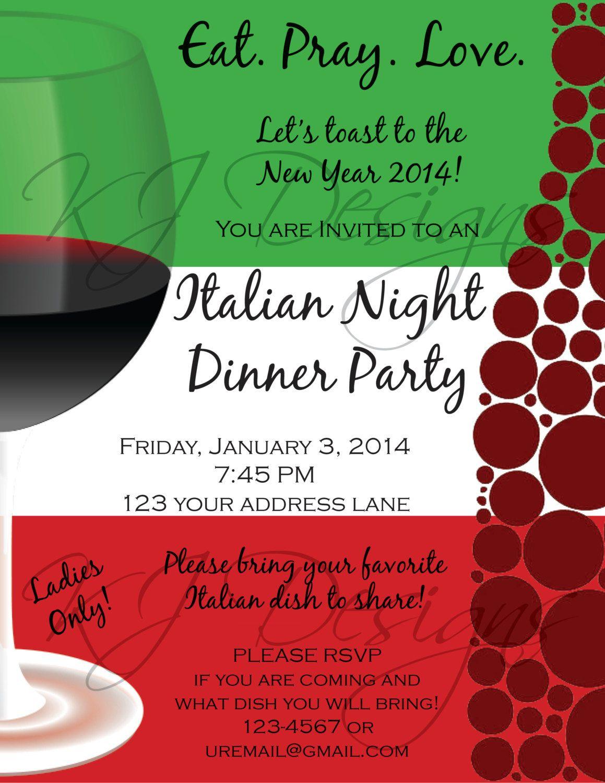 Italian Dinner Party Invitation Template   Parties   Dinner Party - Free Printable Italian Dinner Invitations