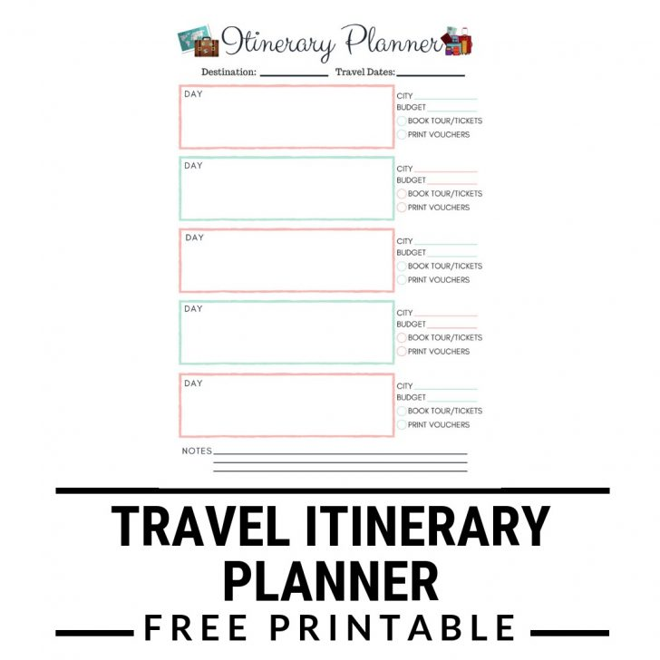 Free Printable Itinerary