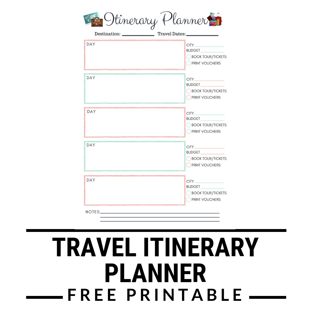 Itinerary Planner Free Printable | Kgb In Wanderland Blog - Free Printable Itinerary