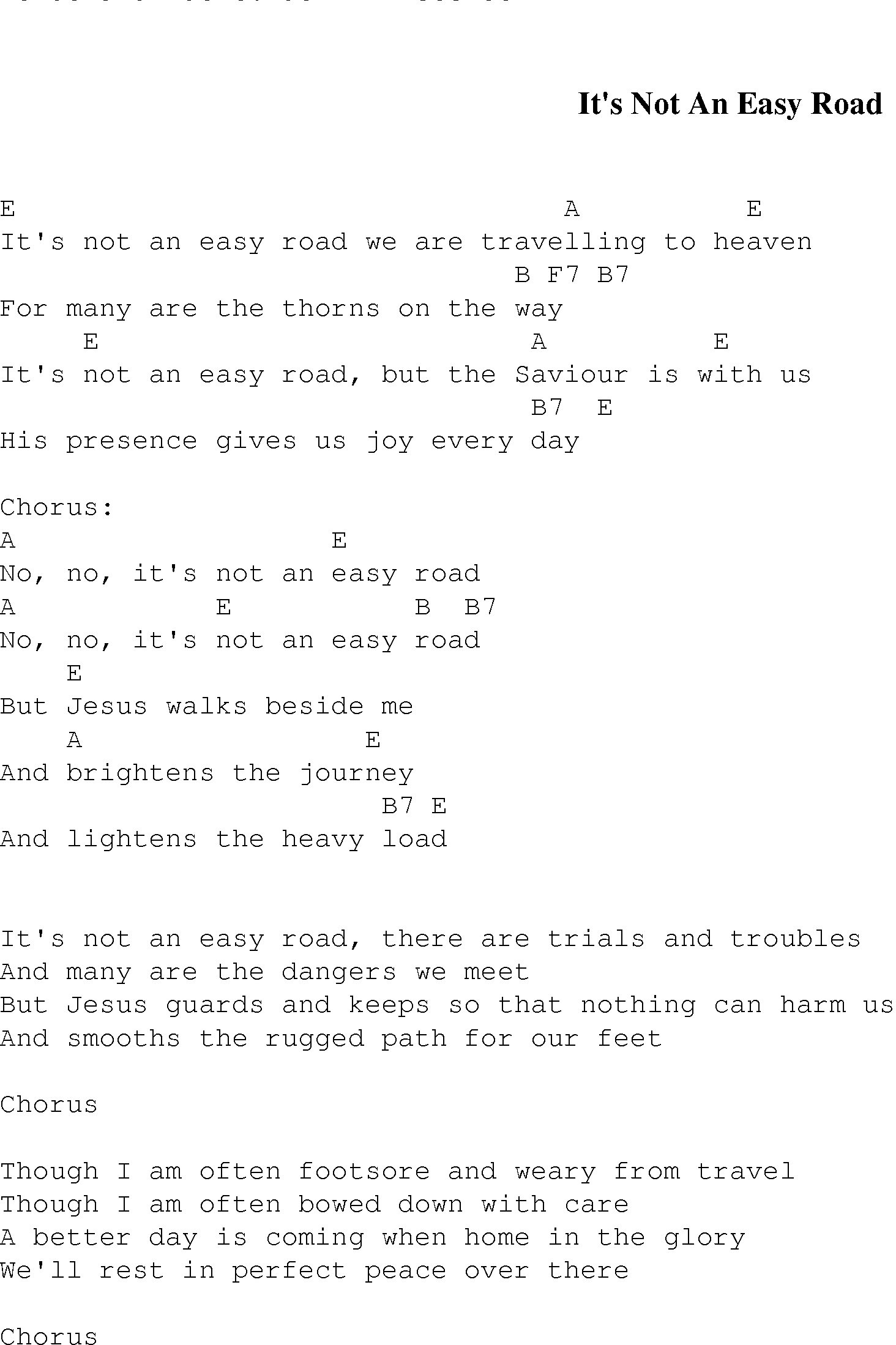 It's Not An Easy Road - Christian Gospel Song Lyrics And Chords - Free Printable Lyrics To Christian Songs