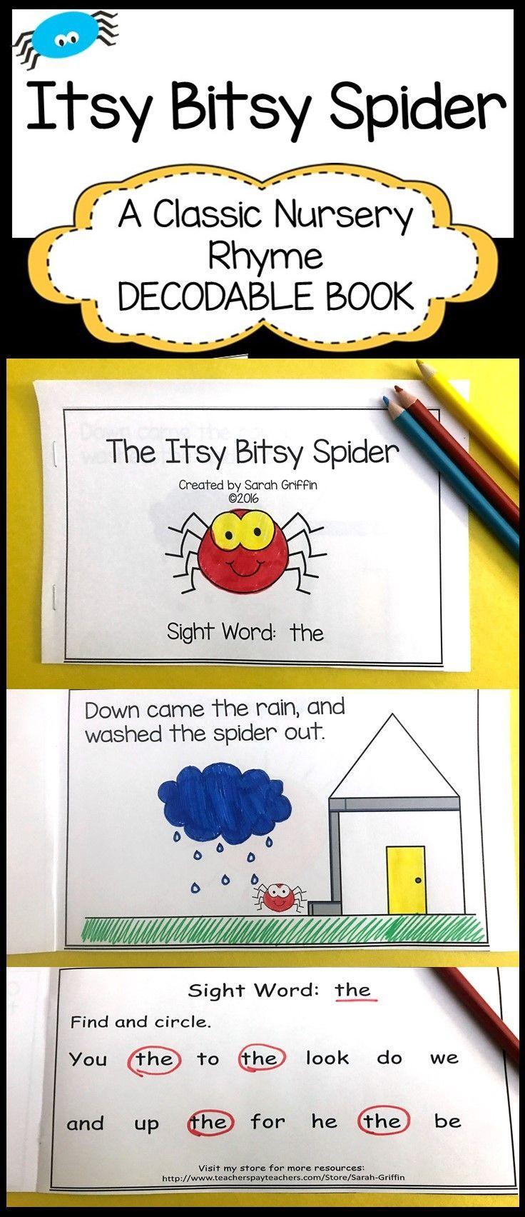 Itsy Bitsy Spider   Printable Decodable Book   Sight Word Reader - Free Printable Decodable Books For Kindergarten