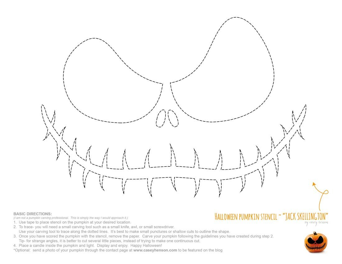 Jack The Pumpkin King Stencil | Jack Nightmare Before Christmas - Jack Skellington Stencil Free Printable
