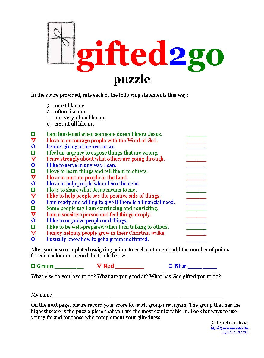 Jaye Martin Ministries Blog: Gifted2Go Puzzle - Free Printable Spiritual Gifts Inventory