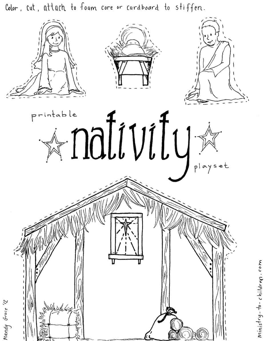 "Jesus In The Manger"" Coloring Pages – Nativity Playset Craft - Free Printable Pictures Of Nativity Scenes"