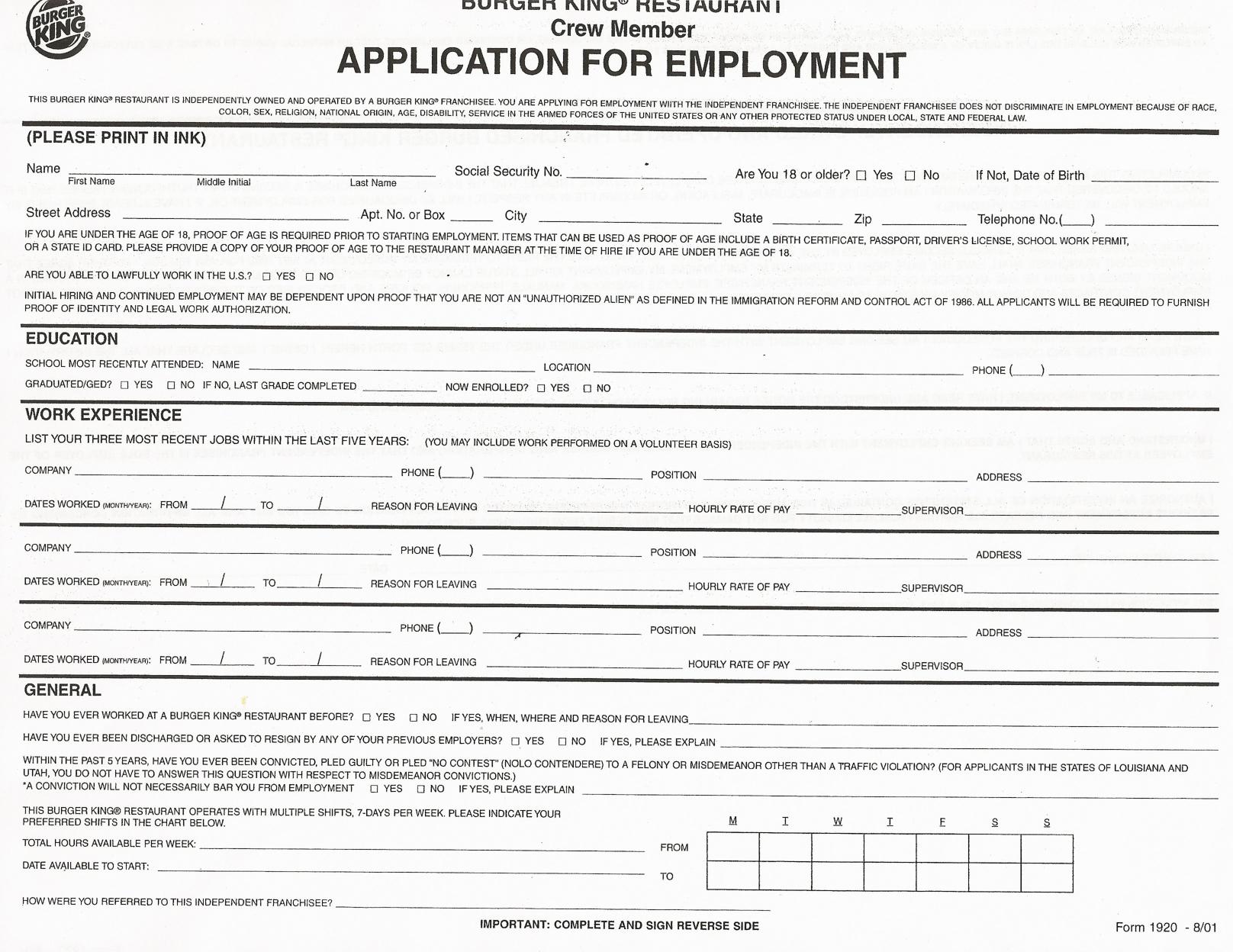Job Application Forms To Print   Printable Job Application Forms - Free Printable Job Application Template