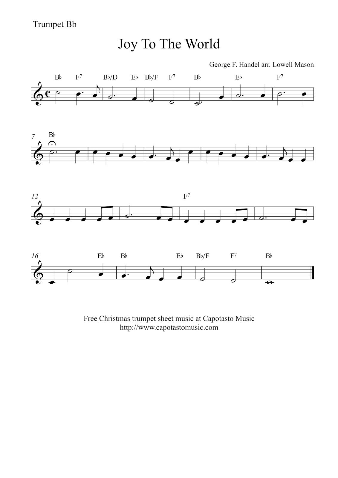 Joy To The World | Free Christmas Trumpet Sheet Music - Free Printable Sheet Music For Trumpet