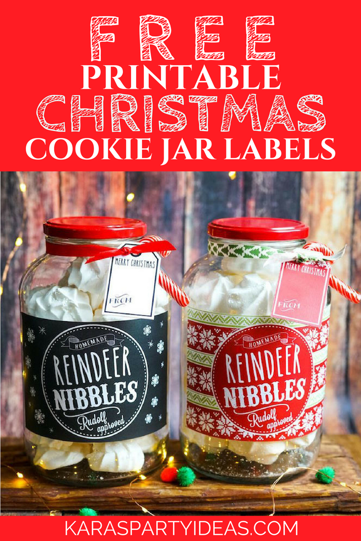 Kara's Party Ideas Free Printable Christmas Cookie Jar Labels - Free Printable Jar Labels Christmas